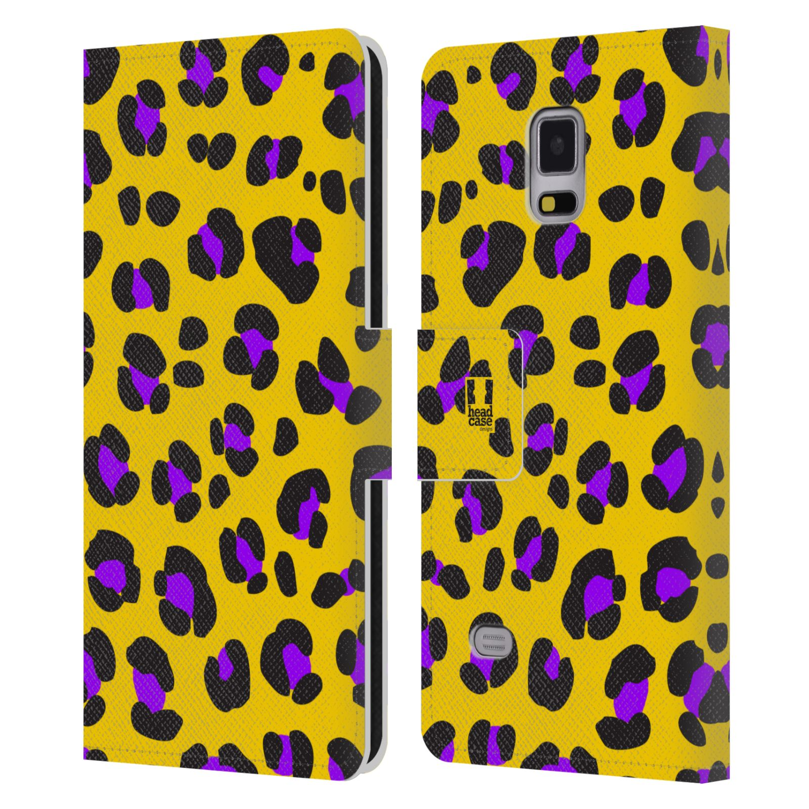 HEAD CASE Flipové pouzdro pro mobil Samsung Galaxy Note 4 Zvířecí barevné vzory žlutý leopard fialové skvrny