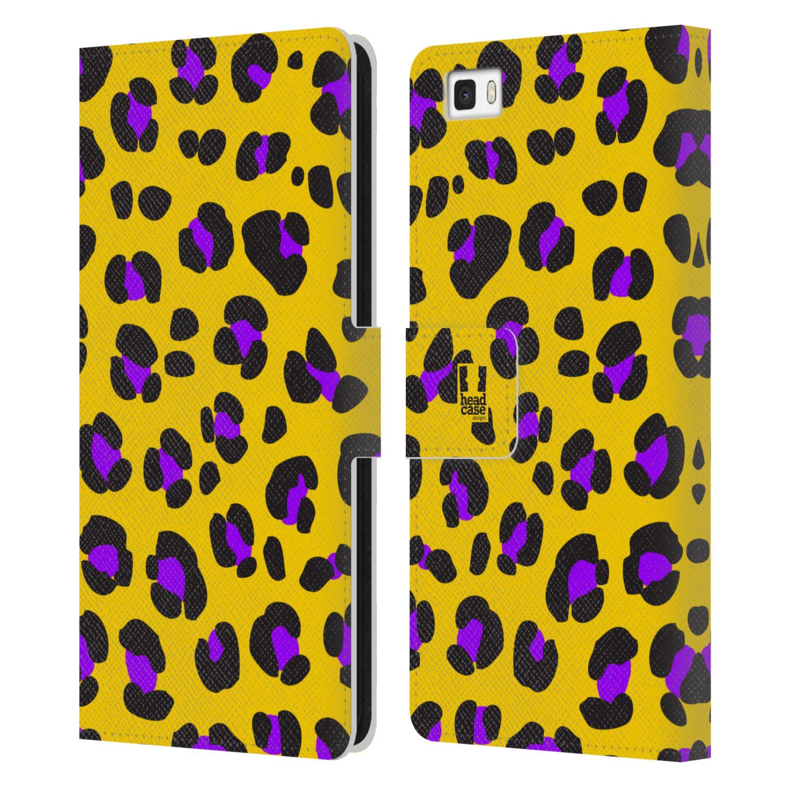 HEAD CASE Flipové pouzdro pro mobil Huawei P8 LITE Zvířecí barevné vzory žlutý leopard fialové skvrny