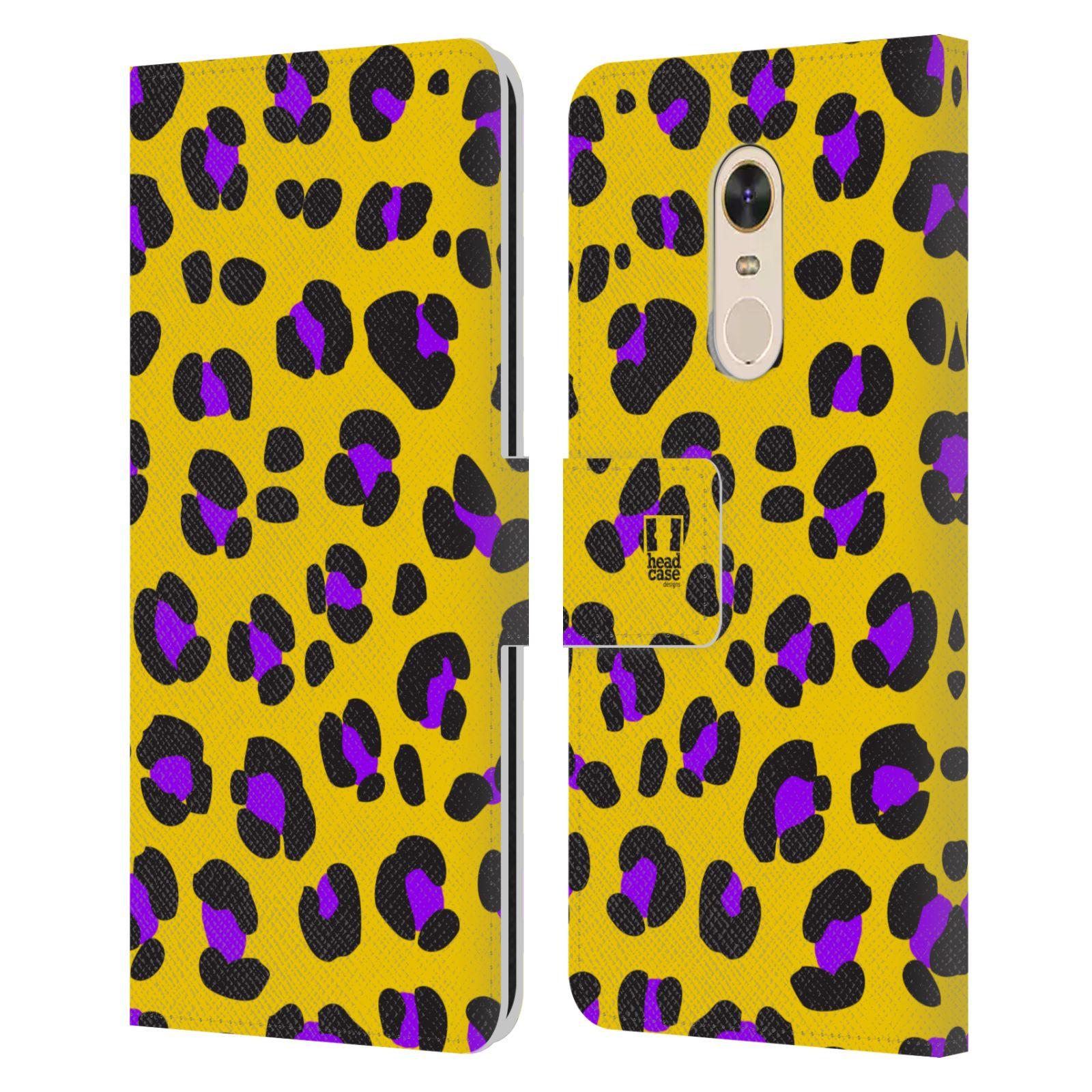 HEAD CASE Flipové pouzdro pro mobil Xiaomi Redmi 5 PLUS Zvířecí barevné vzory žlutý leopard fialové skvrny