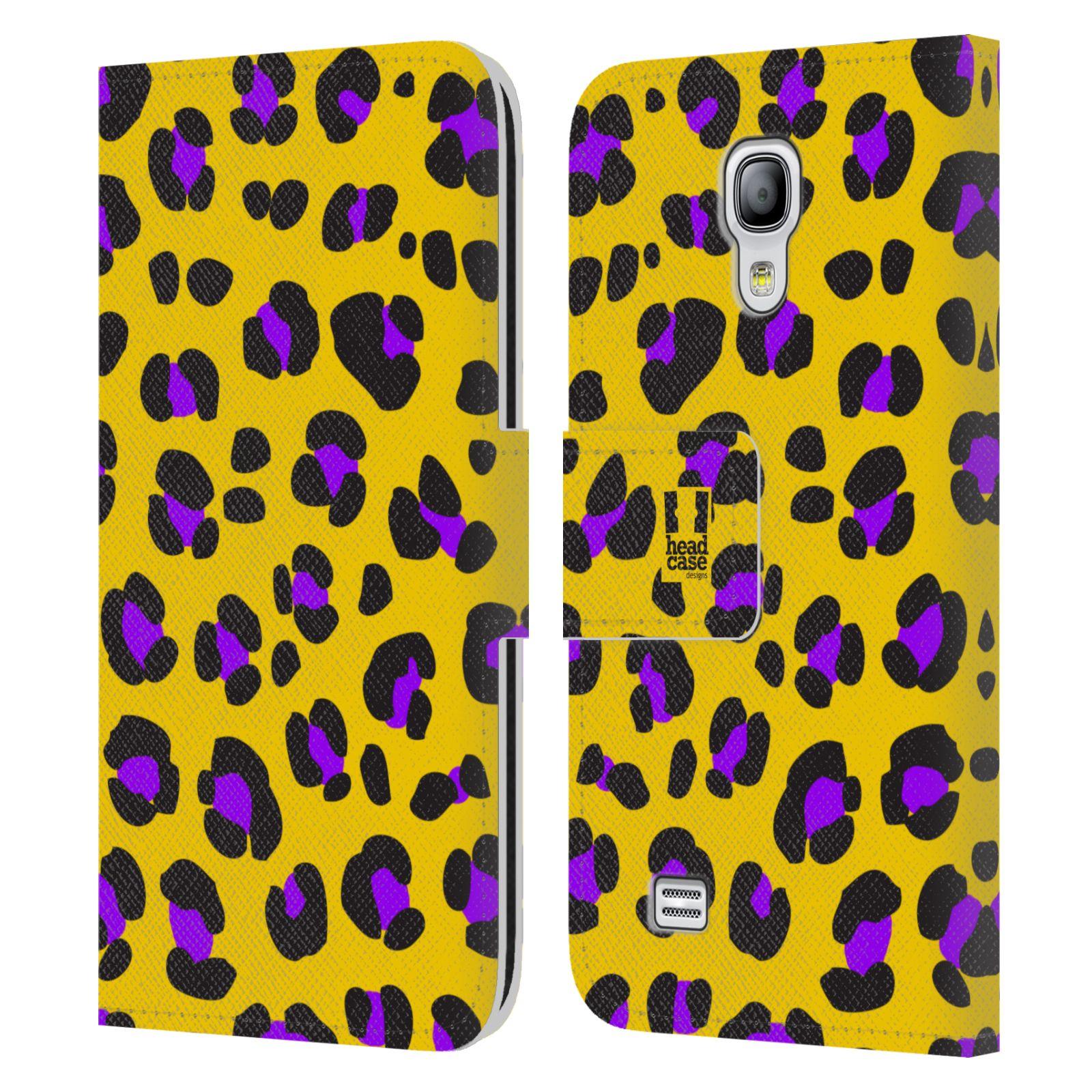 HEAD CASE Flipové pouzdro pro mobil Samsung Galaxy S4 MINI / S4 MINI DUOS Zvířecí barevné vzory žlutý leopard fialové skvrny