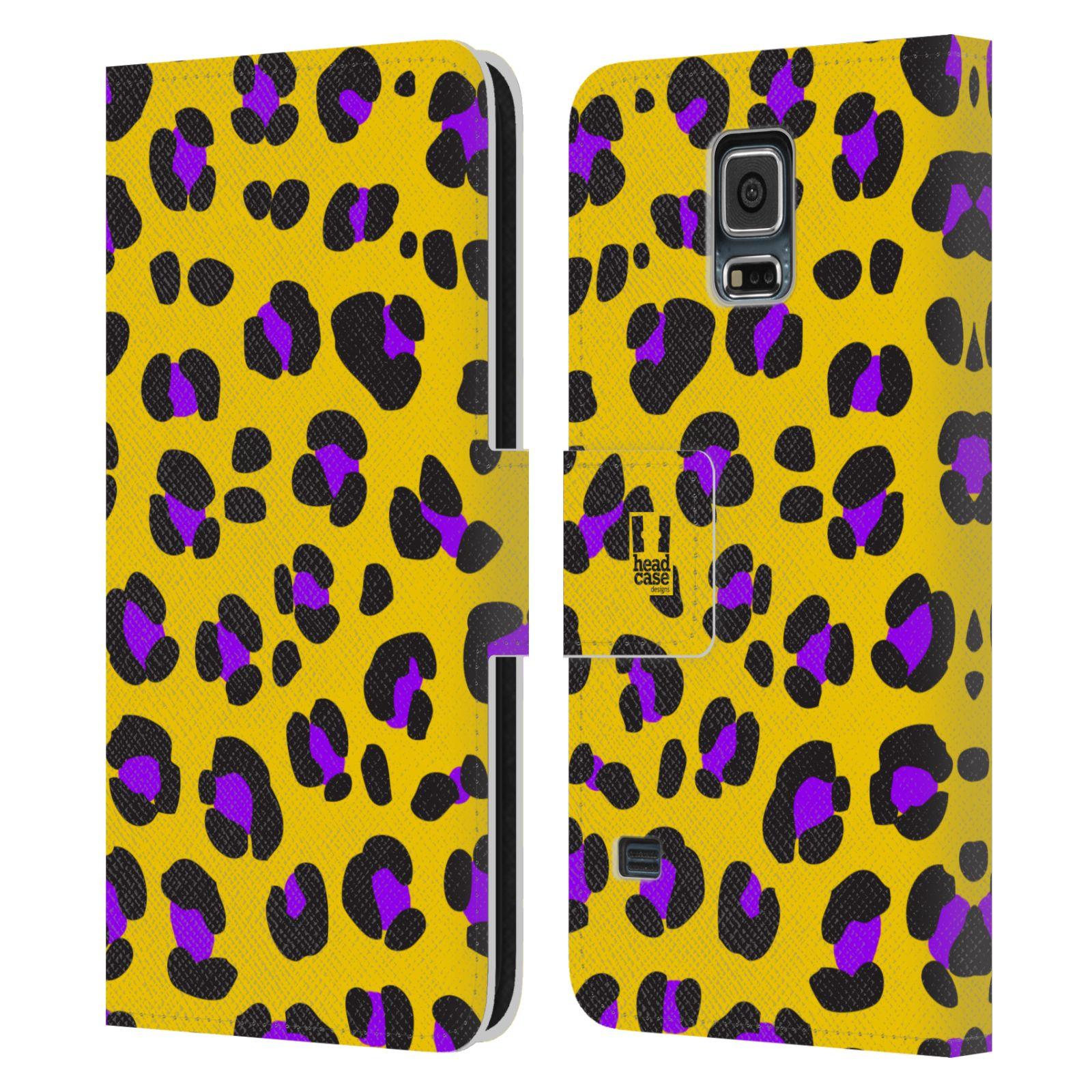 HEAD CASE Flipové pouzdro pro mobil Samsung Galaxy S5 / S5 NEO Zvířecí barevné vzory žlutý leopard fialové skvrny