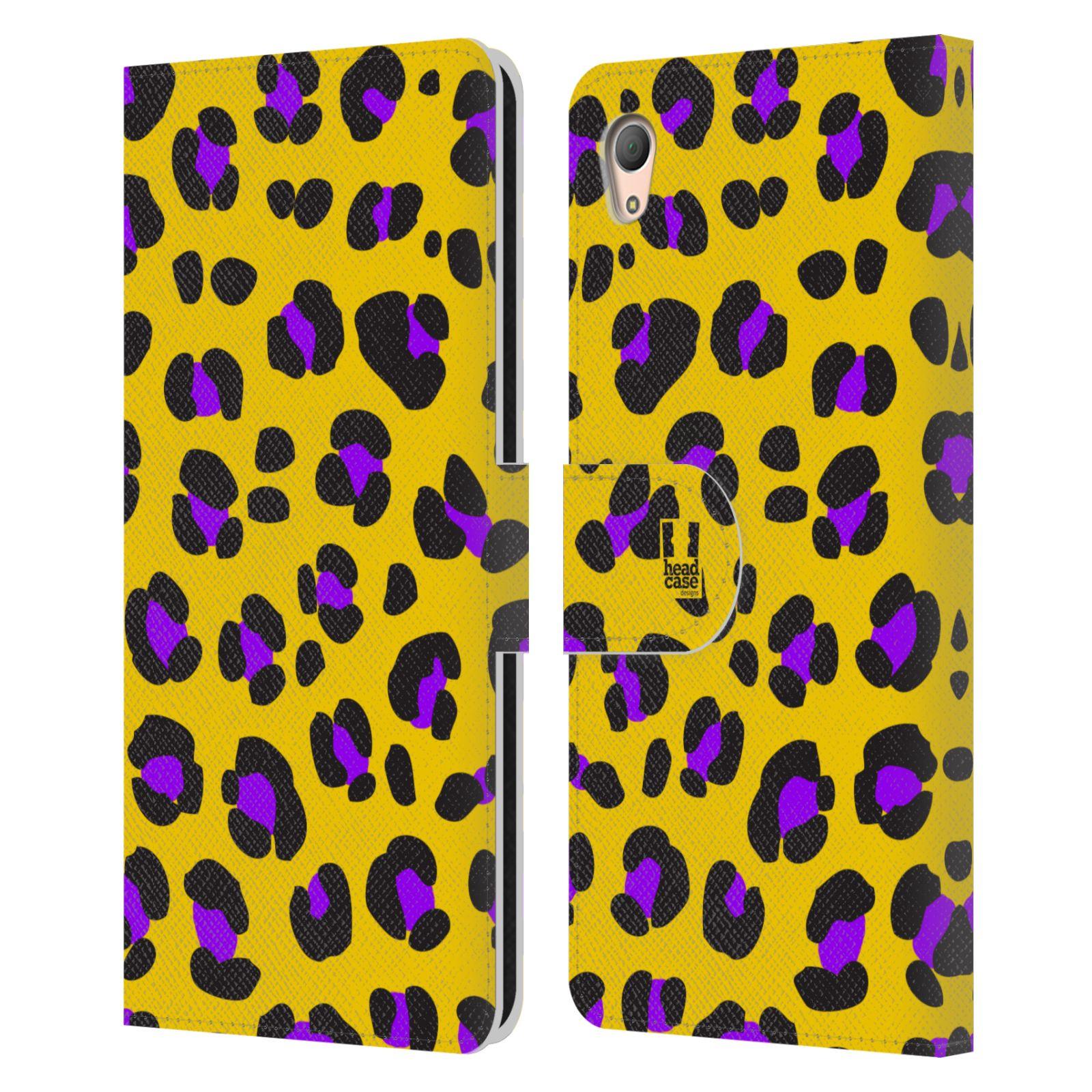 HEAD CASE Flipové pouzdro pro mobil SONY XPERIA Z3+ (PLUS) Zvířecí barevné vzory žlutý leopard fialové skvrny
