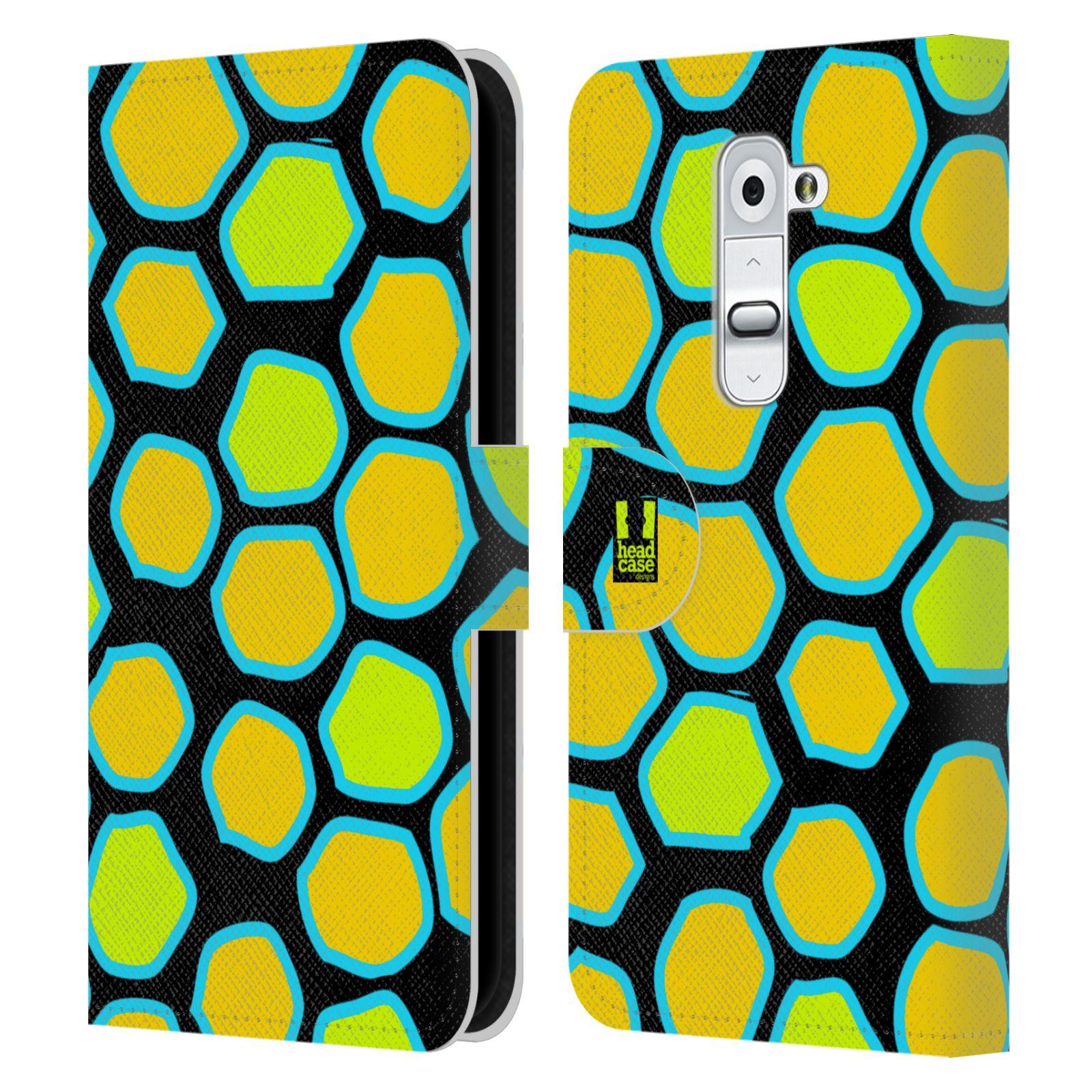 HEAD CASE Flipové pouzdro pro mobil LG G2 (D802) Zvířecí barevné vzory žlutý had
