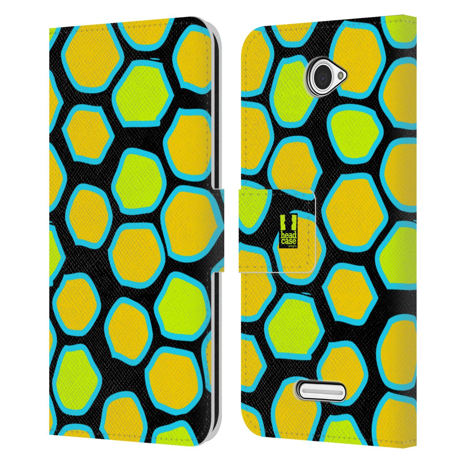 HEAD CASE Flipové pouzdro pro mobil SONY XPERIA E4 Zvířecí barevné vzory žlutý had