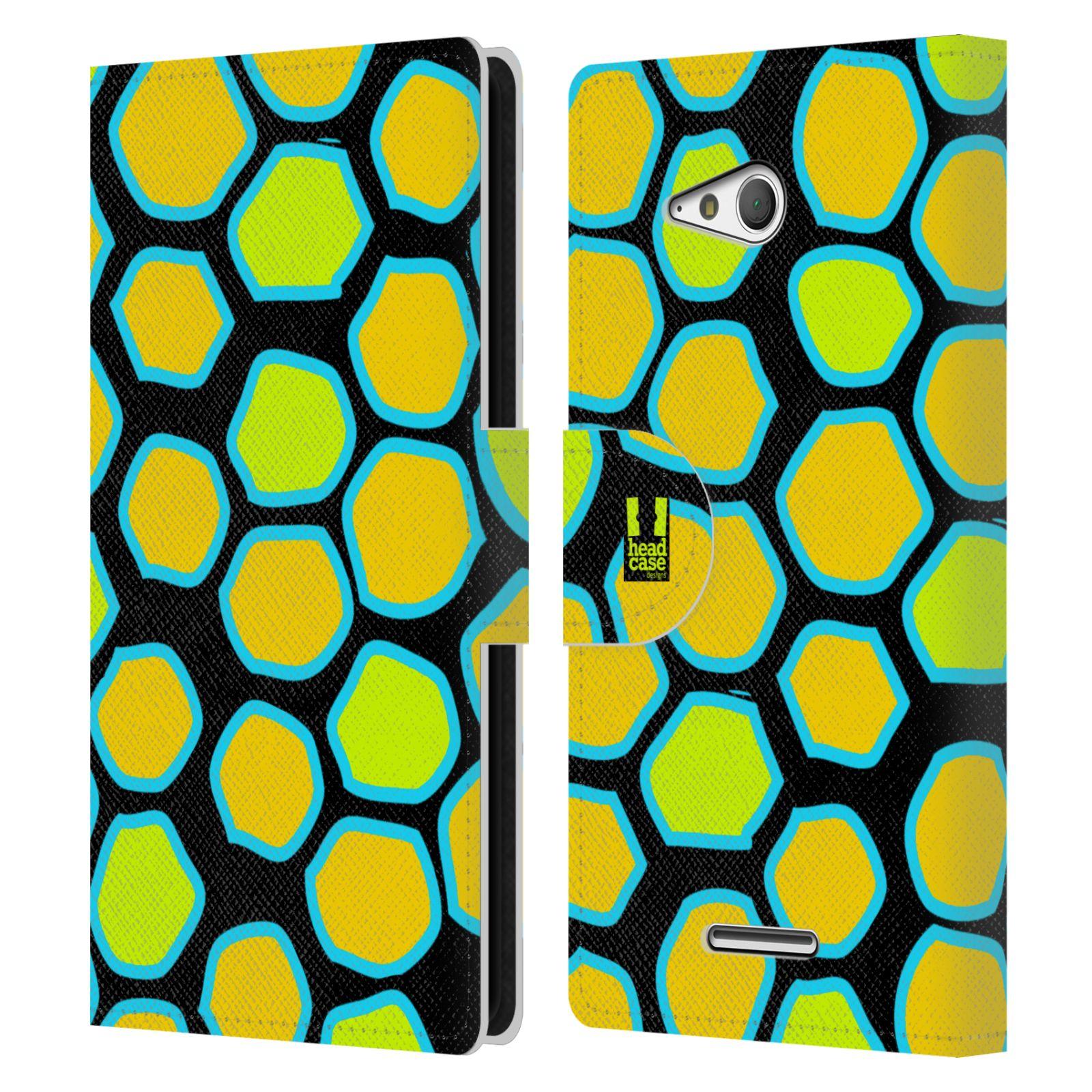 HEAD CASE Flipové pouzdro pro mobil SONY XPERIA E4g Zvířecí barevné vzory žlutý had