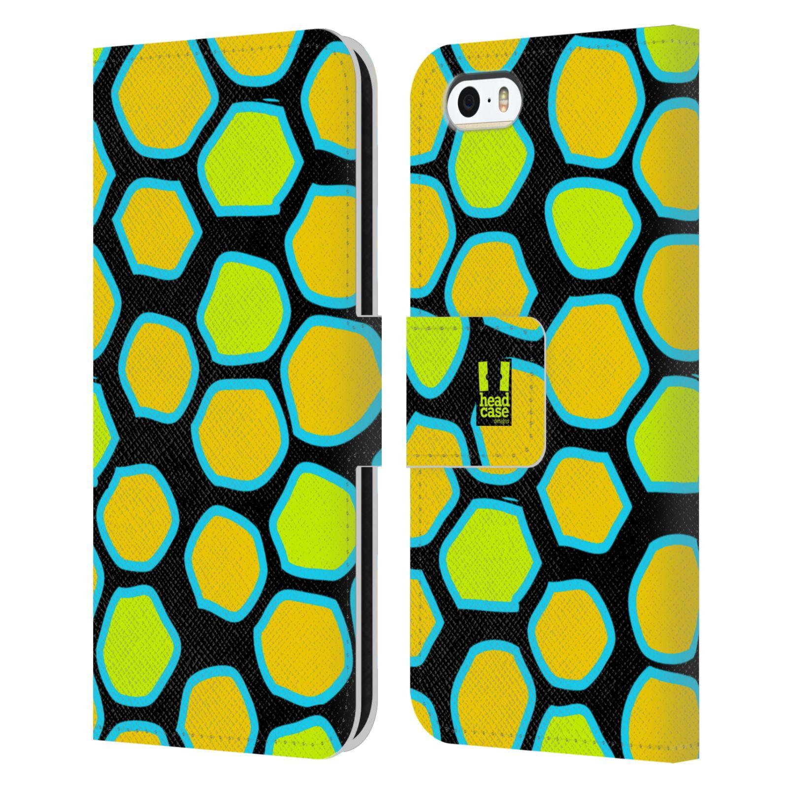 HEAD CASE Flipové pouzdro pro mobil Apple Iphone 5/5s Zvířecí barevné vzory žlutý had