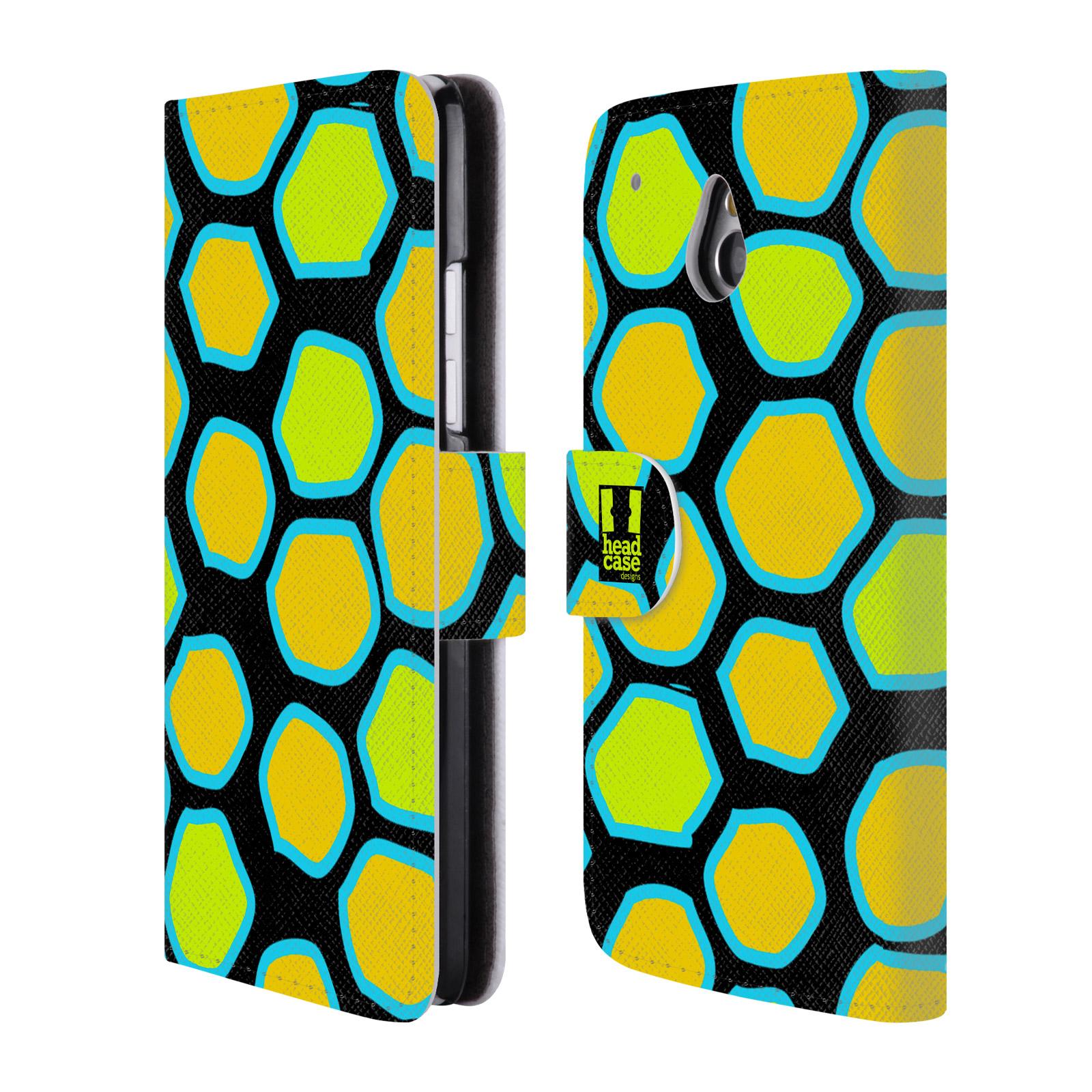 HEAD CASE Flipové pouzdro pro mobil HTC ONE MINI (M4) Zvířecí barevné vzory žlutý had