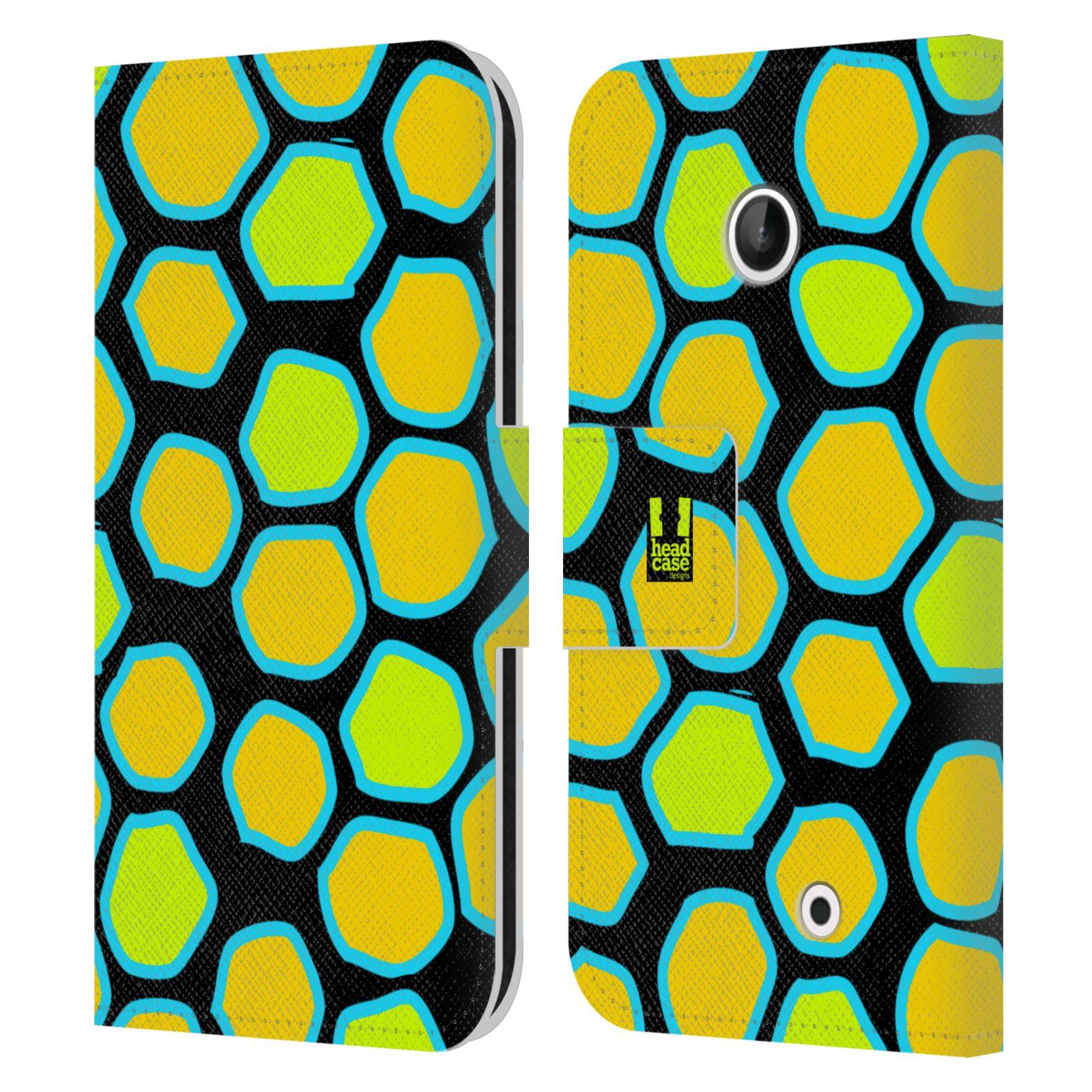 HEAD CASE Flipové pouzdro pro mobil NOKIA LUMIA 630 / LUMIA 630 DUAL Zvířecí barevné vzory žlutý had