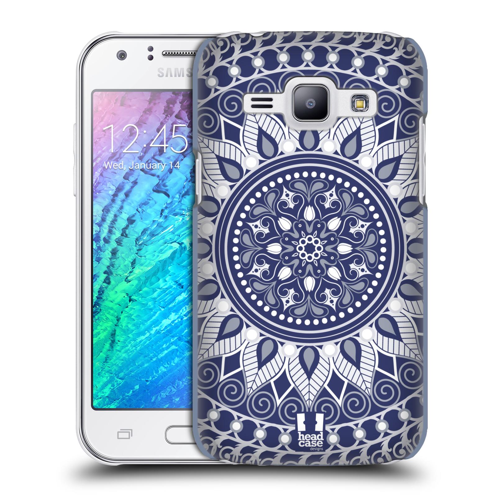HEAD CASE plastový obal na mobil SAMSUNG Galaxy J1, J100 vzor Indie Mandala slunce barevný motiv MODRÁ