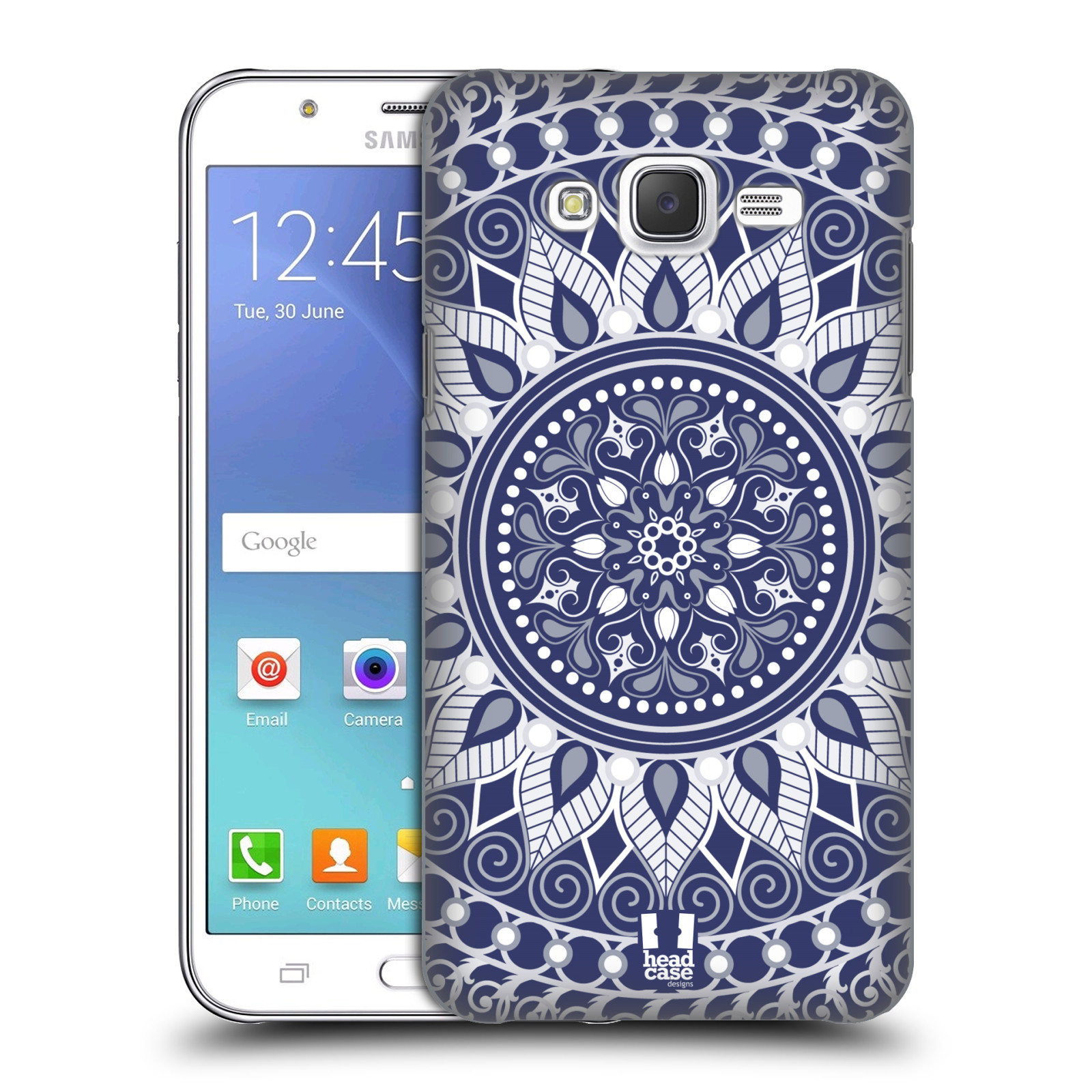 HEAD CASE plastový obal na mobil SAMSUNG Galaxy J5, J500 vzor Indie Mandala slunce barevný motiv MODRÁ