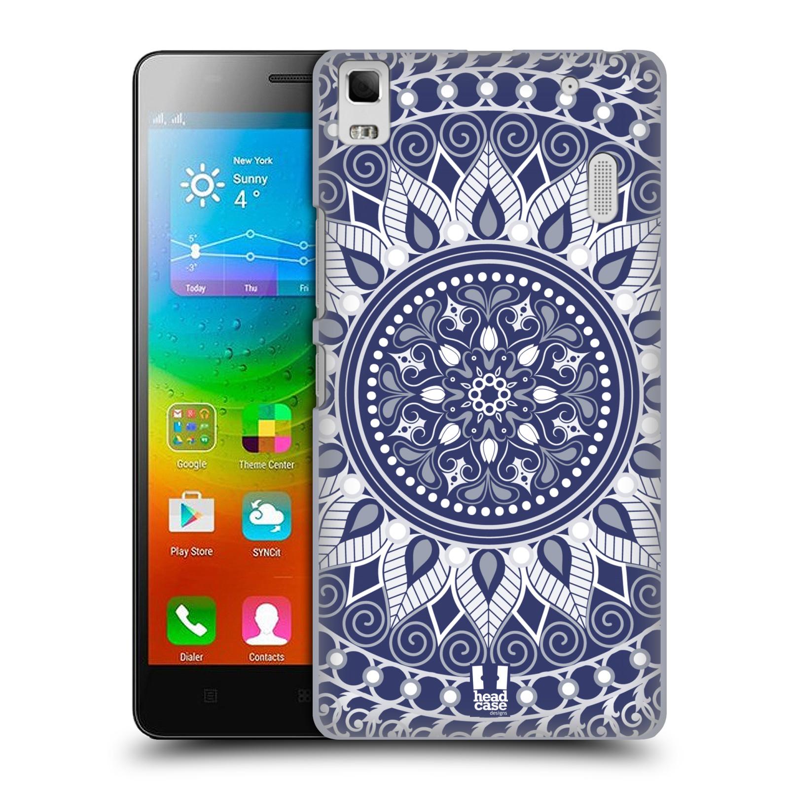 HEAD CASE pevný plastový obal na mobil LENOVO A7000 / A7000 DUAL / K3 NOTE vzor Indie Mandala slunce barevný motiv MODRÁ