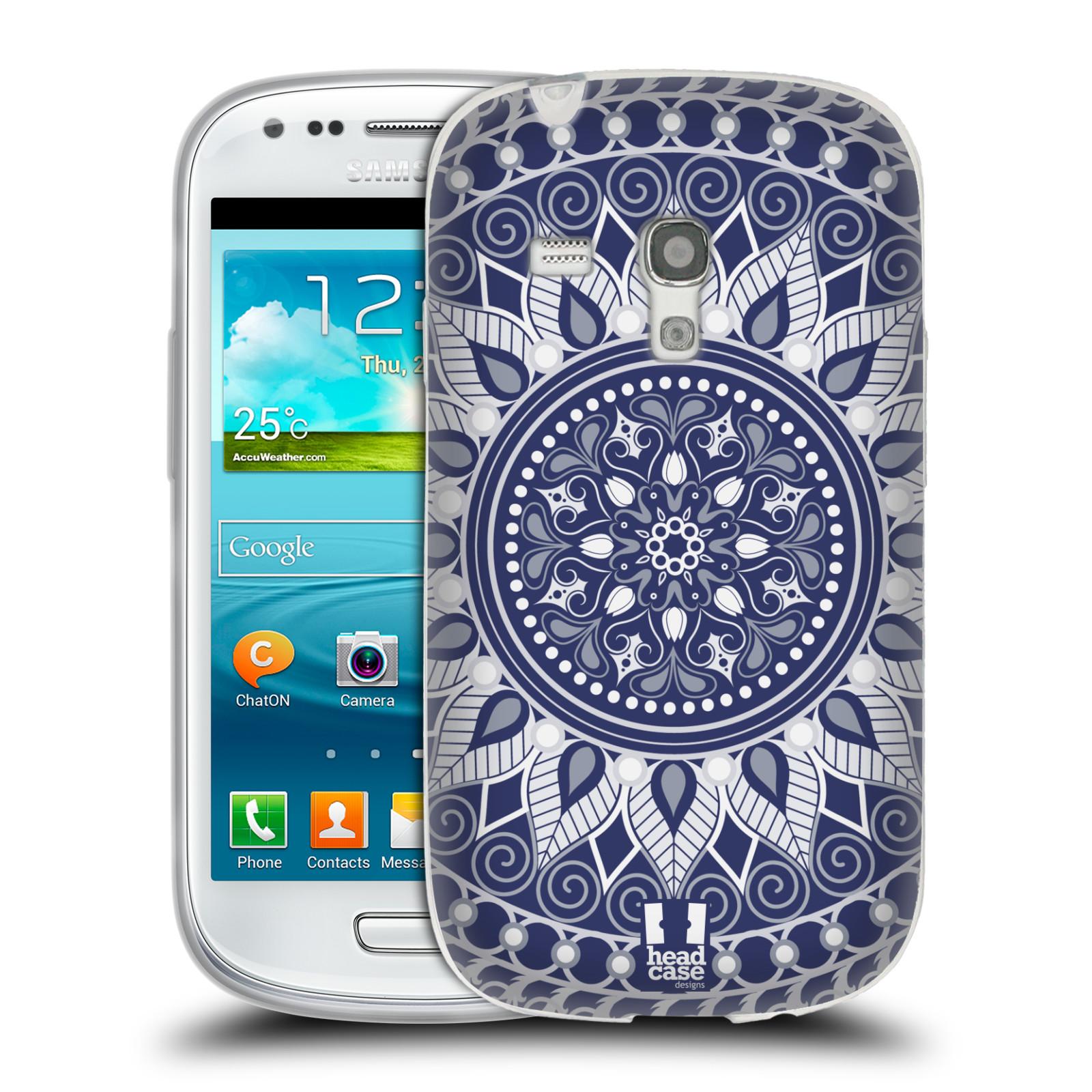HEAD CASE silikonový obal na mobil Samsung Galaxy S3 MINI i8190 vzor Indie Mandala slunce barevný motiv MODRÁ