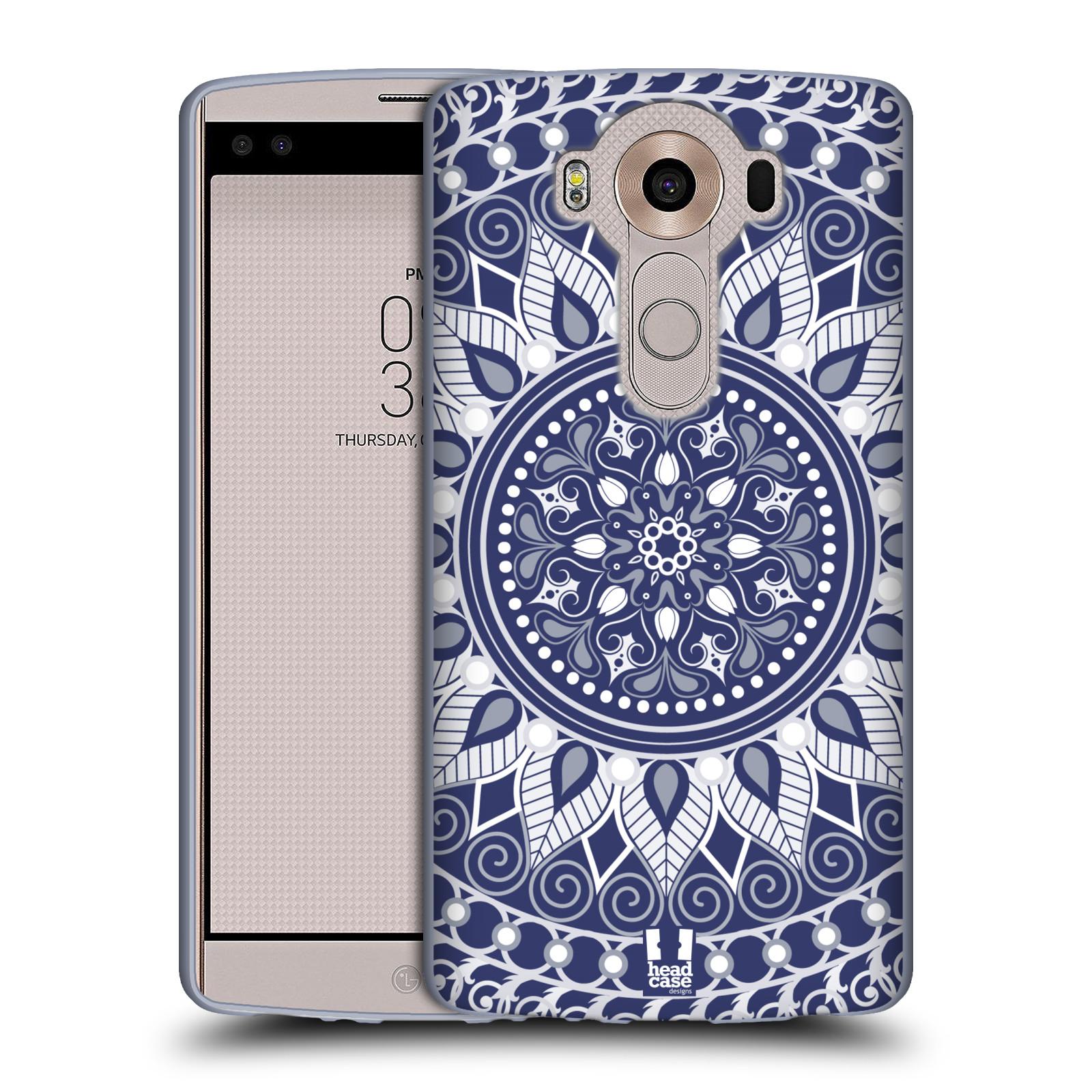 HEAD CASE silikonový obal na mobil LG V10 (H960A) vzor Indie Mandala slunce barevný motiv MODRÁ