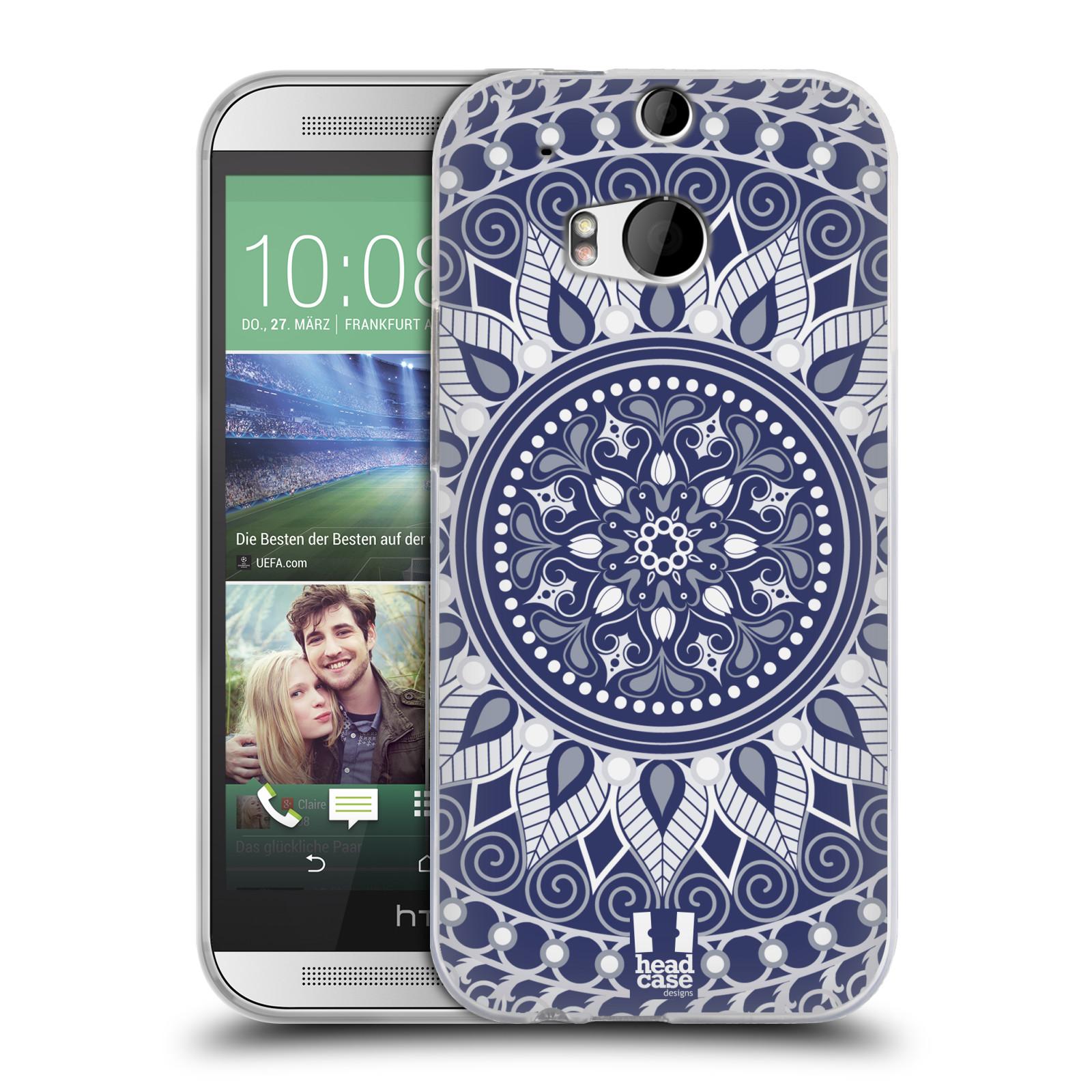 HEAD CASE silikonový obal na mobil HTC ONE (M8) vzor Indie Mandala slunce barevný motiv MODRÁ