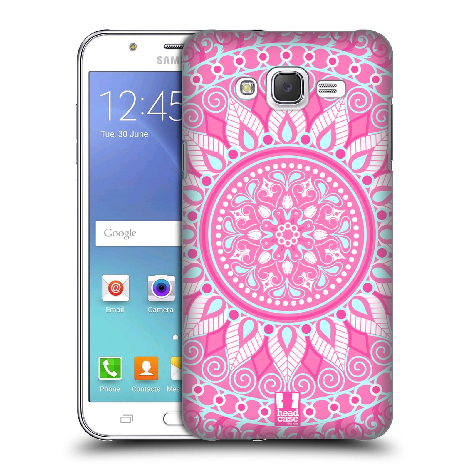 HEAD CASE plastový obal na mobil SAMSUNG Galaxy J5, J500 vzor Indie Mandala slunce barevný motiv RŮŽOVÁ
