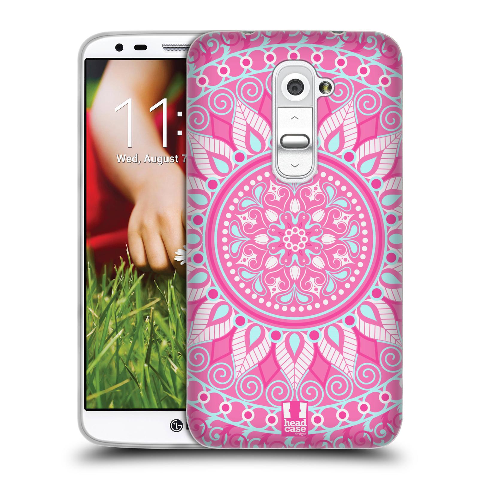 HEAD CASE silikonový obal na mobil LG G2 vzor Indie Mandala slunce barevný motiv RŮŽOVÁ
