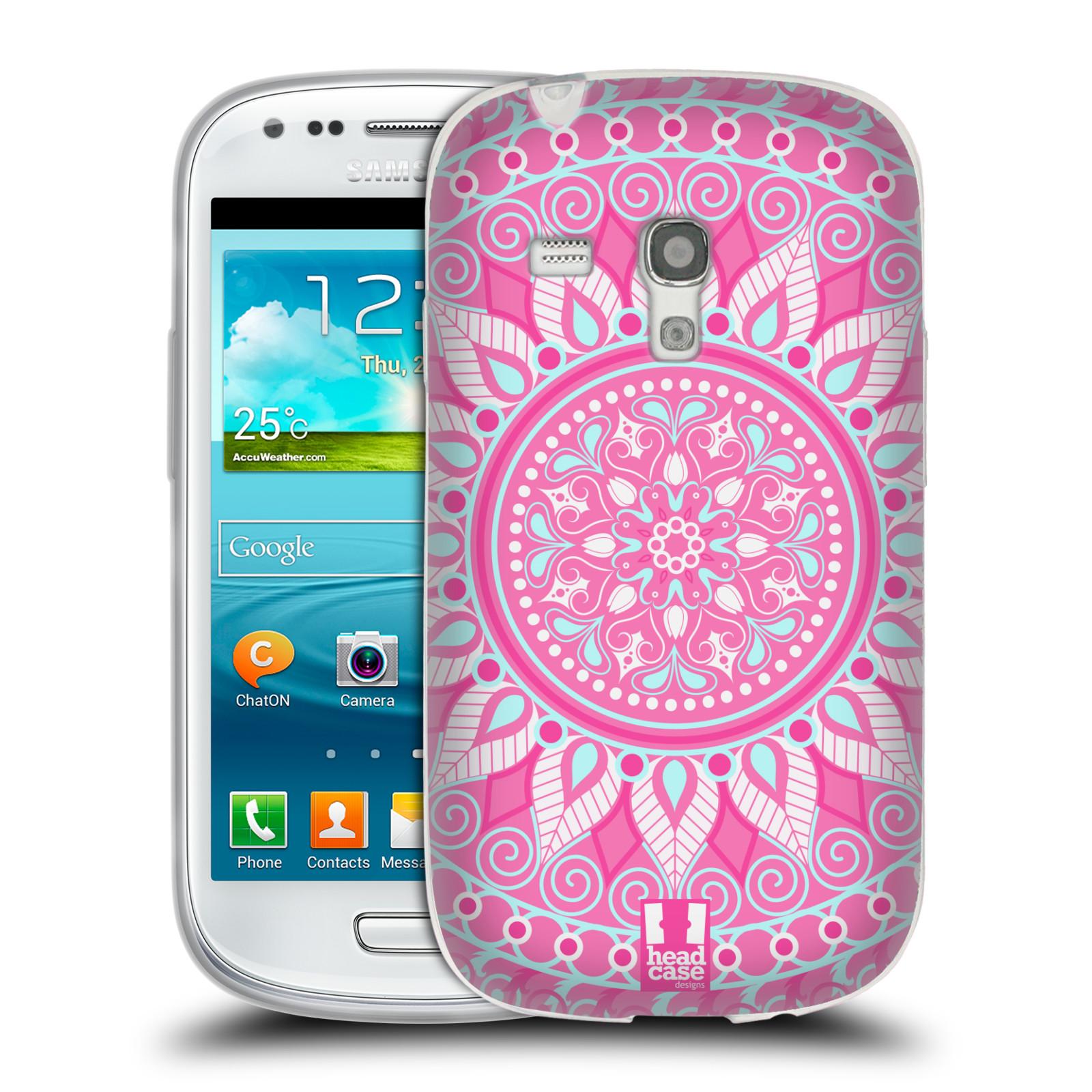 HEAD CASE silikonový obal na mobil Samsung Galaxy S3 MINI i8190 vzor Indie Mandala slunce barevný motiv RŮŽOVÁ