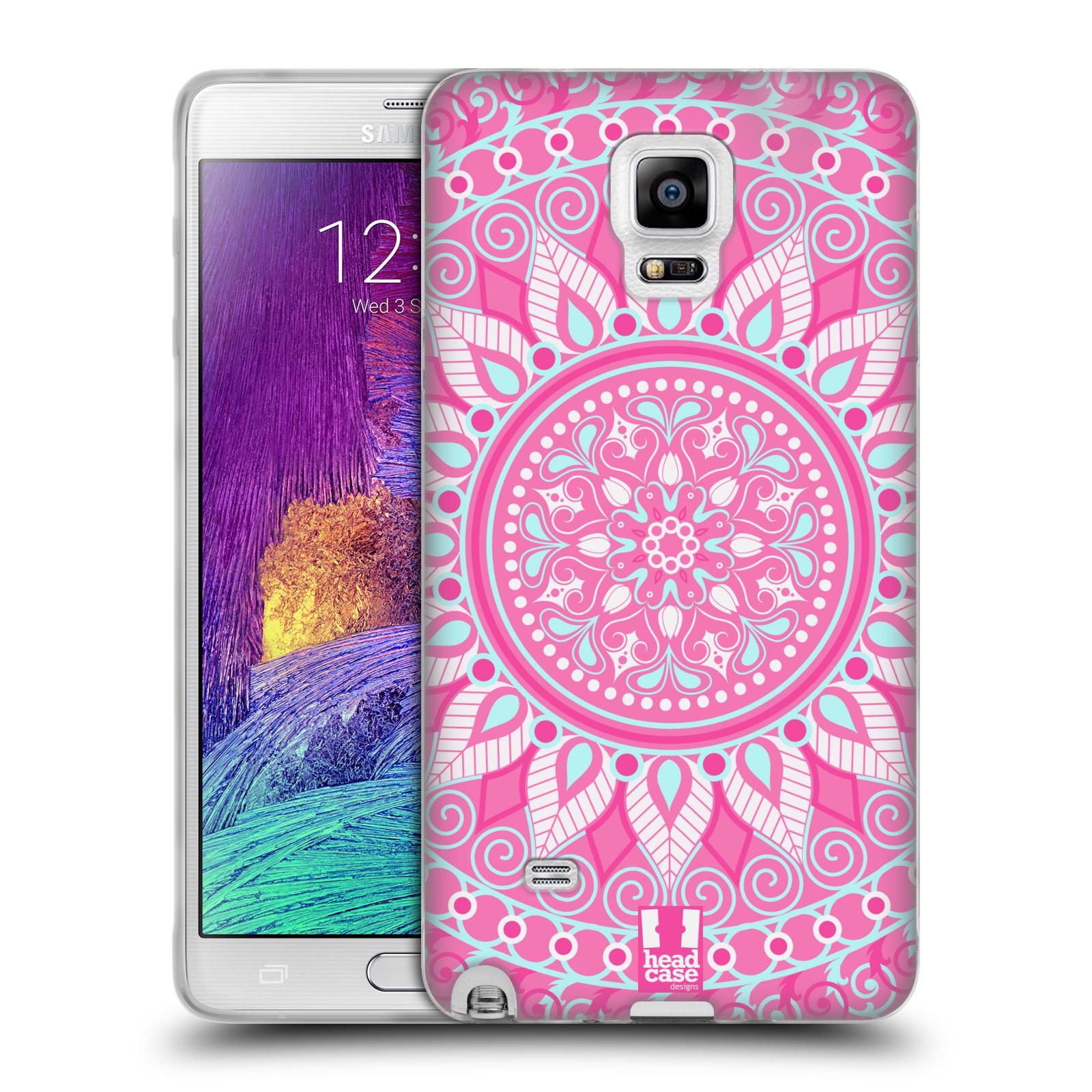 HEAD CASE silikonový obal na mobil Samsung Galaxy Note 4 (N910) vzor Indie Mandala slunce barevný motiv RŮŽOVÁ
