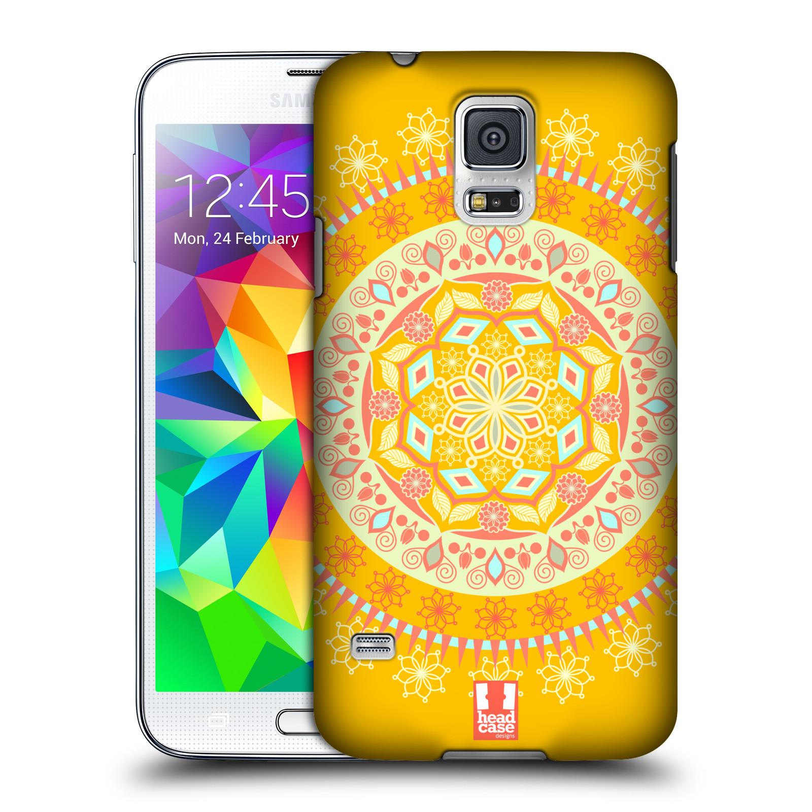 HEAD CASE plastový obal na mobil SAMSUNG Galaxy SS / S5 NEO (G900, G903F) vzor Indie Mandala slunce barevný motiv ŽLUTÁ