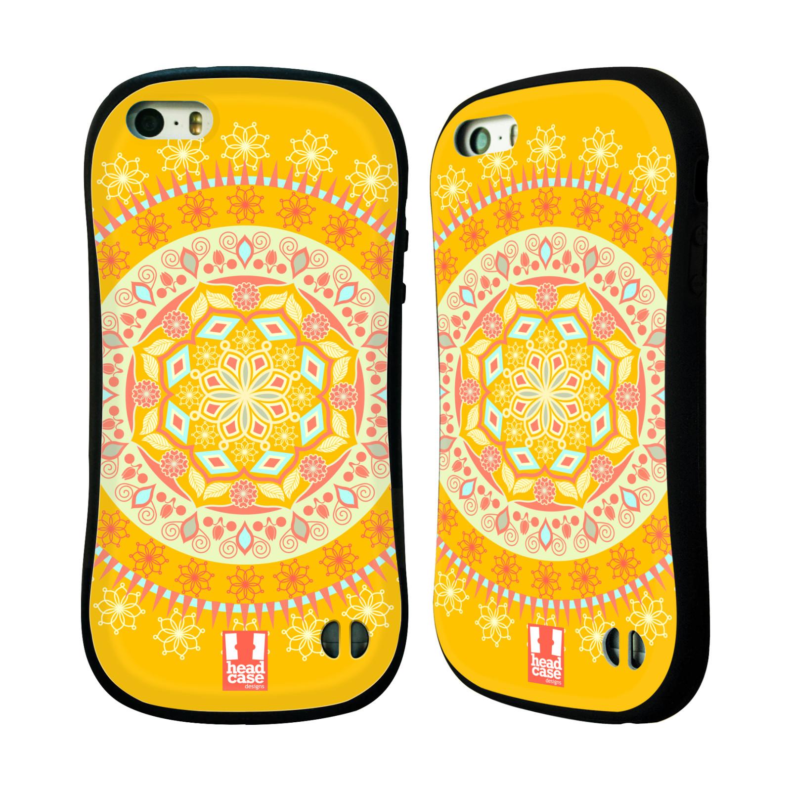 HEAD CASE silikon plast odolný obal na mobil Apple Iphone 5 5S vzor Indie  Mandala slunce barevný motiv ŽLUTÁ 0357af1ee61