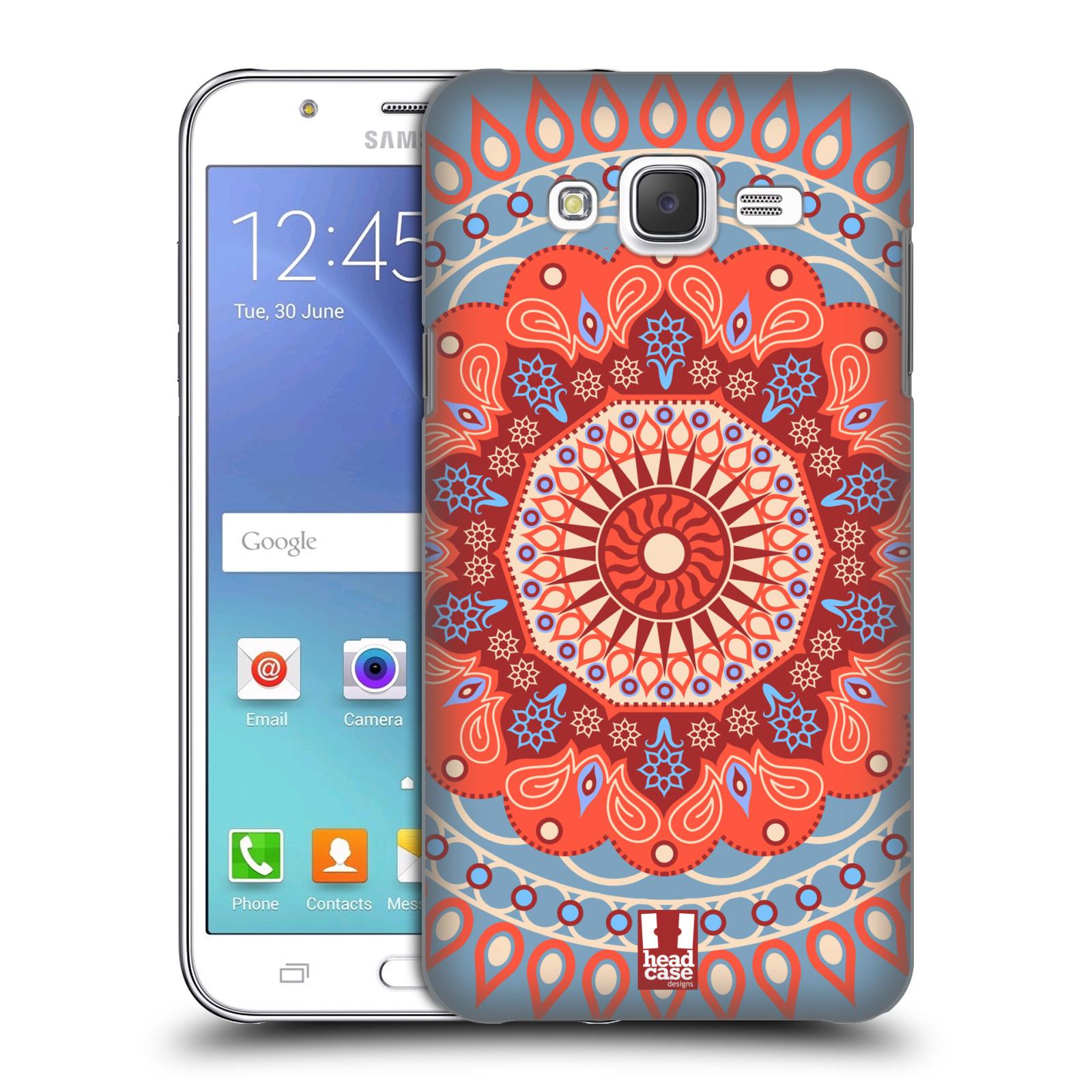 HEAD CASE plastový obal na mobil SAMSUNG Galaxy J5, J500 vzor Indie Mandala slunce barevný motiv ČERVENÁ A MODRÁ