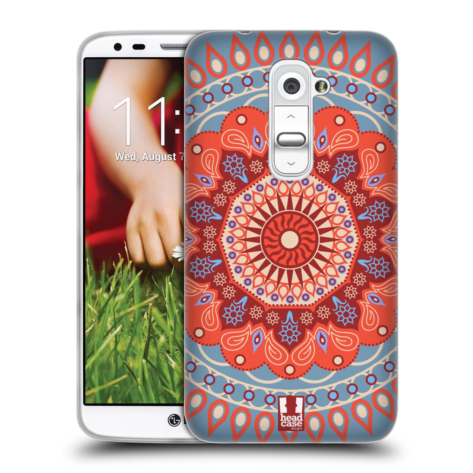 HEAD CASE silikonový obal na mobil LG G2 vzor Indie Mandala slunce barevný motiv ČERVENÁ A MODRÁ