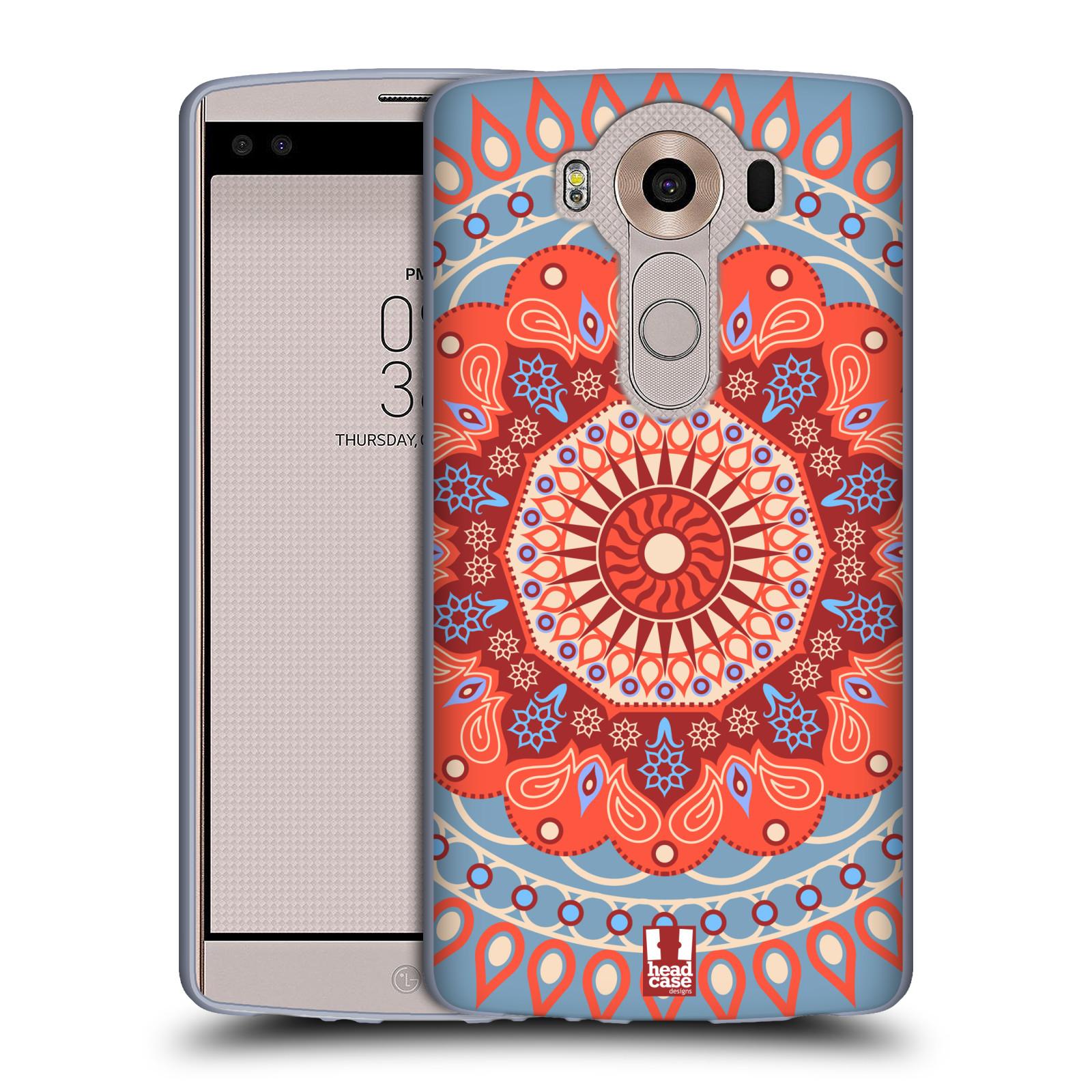 HEAD CASE silikonový obal na mobil LG V10 (H960A) vzor Indie Mandala slunce barevný motiv ČERVENÁ A MODRÁ