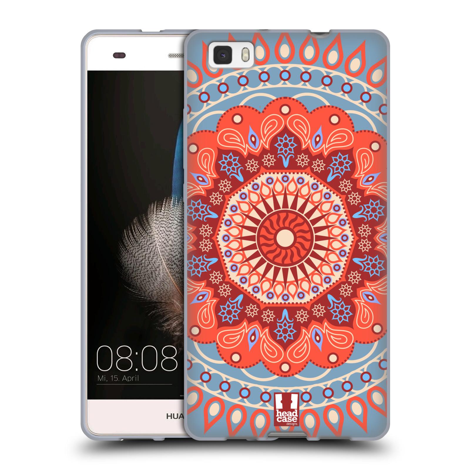 HEAD CASE silikonový obal na mobil HUAWEI P8 LITE vzor Indie Mandala slunce barevný motiv ČERVENÁ A MODRÁ