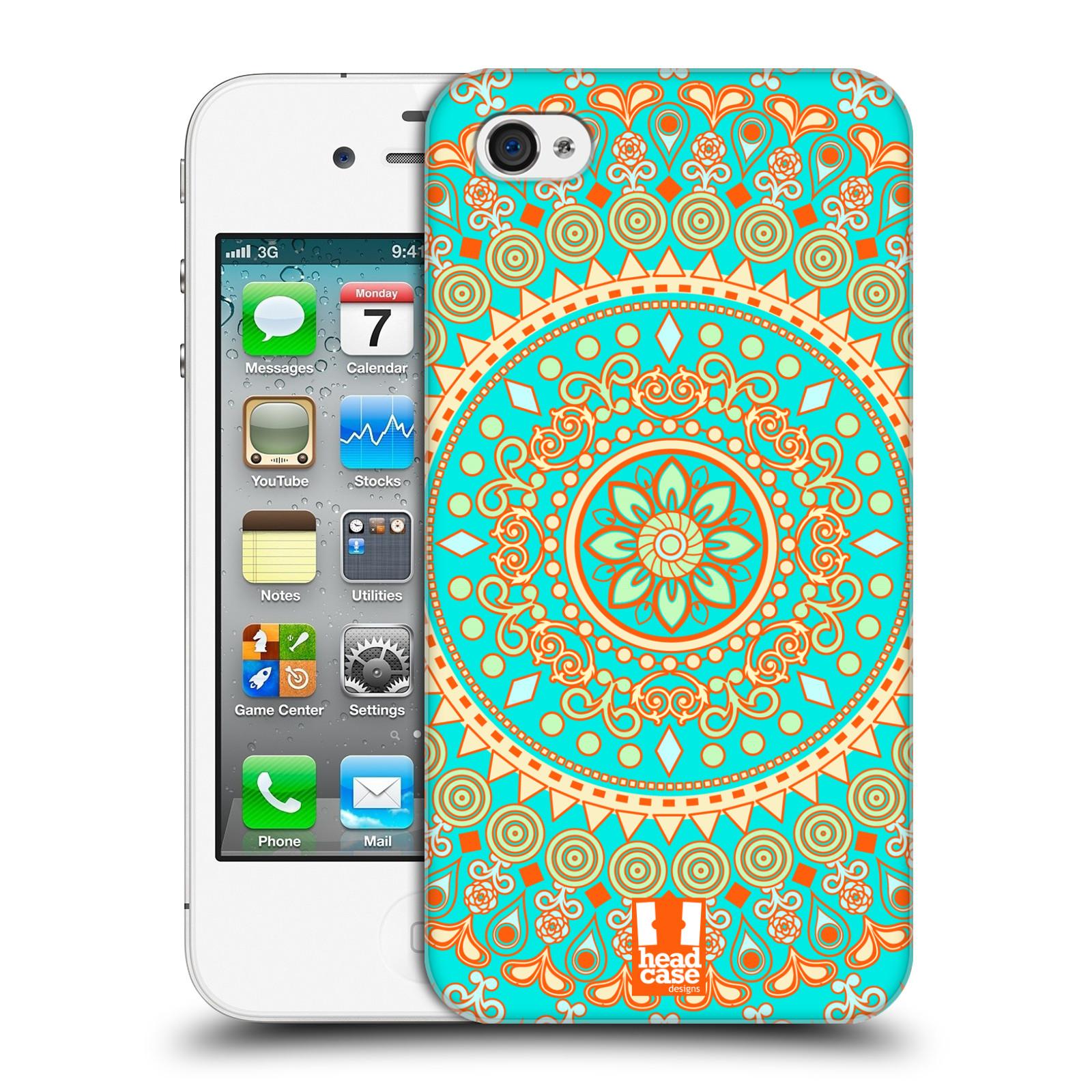 HEAD CASE plastový obal na mobil Apple Iphone 4/4S vzor Indie Mandala slunce barevný motiv TYRKYSOVÁ, ZELENÁ