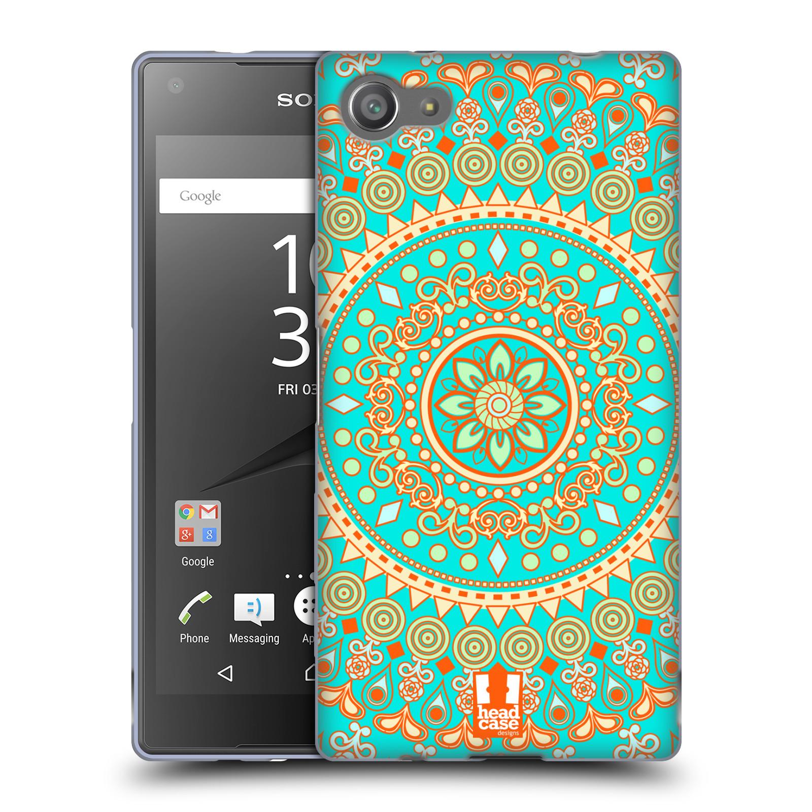 HEAD CASE silikonový obal na mobil Sony Xperia Z5 COMPACT vzor Indie Mandala slunce barevný motiv TYRKYSOVÁ, ZELENÁ