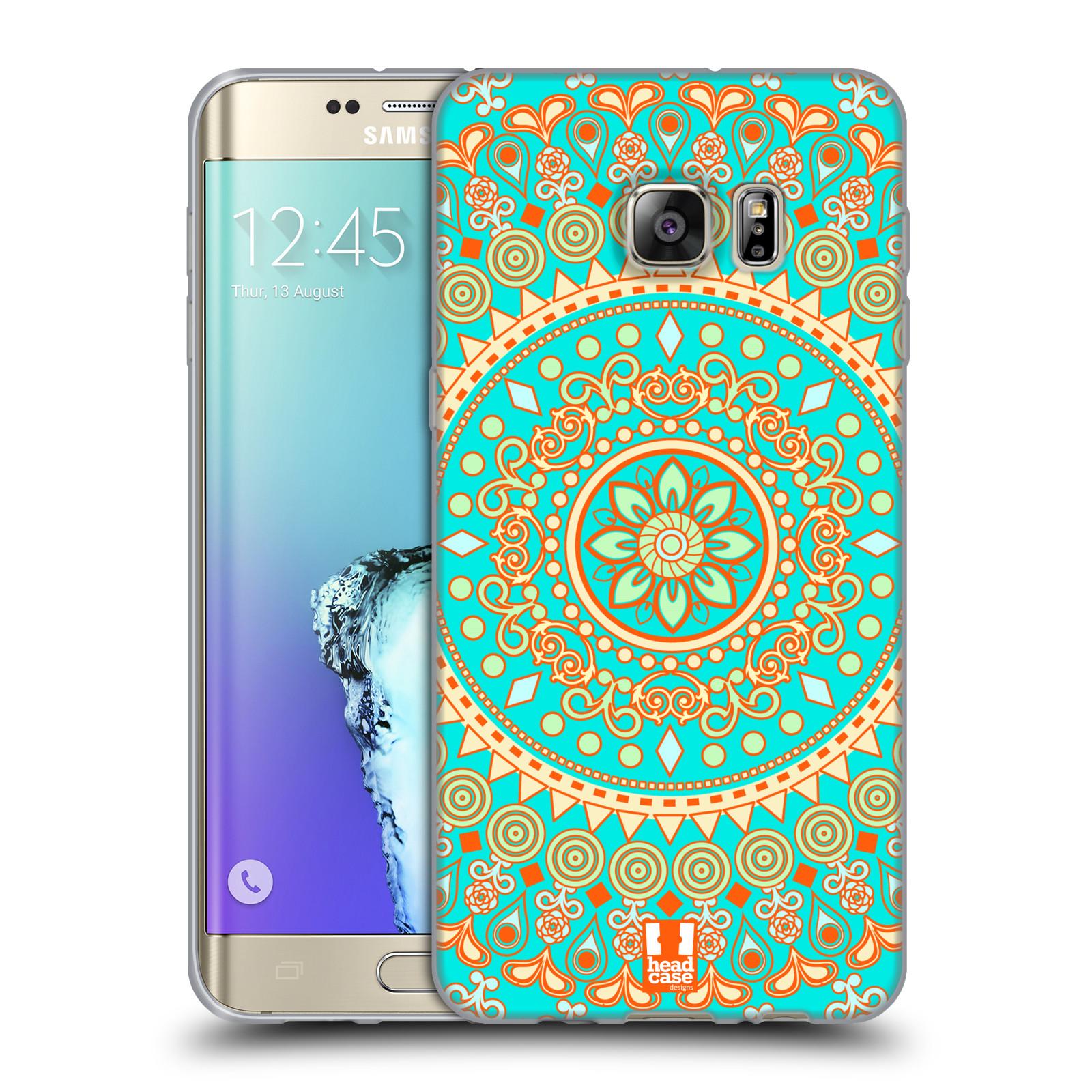 HEAD CASE silikonový obal na mobil Samsung Galaxy S6 EDGE PLUS vzor Indie  Mandala slunce barevný motiv TYRKYSOVÁ e6d914161a4