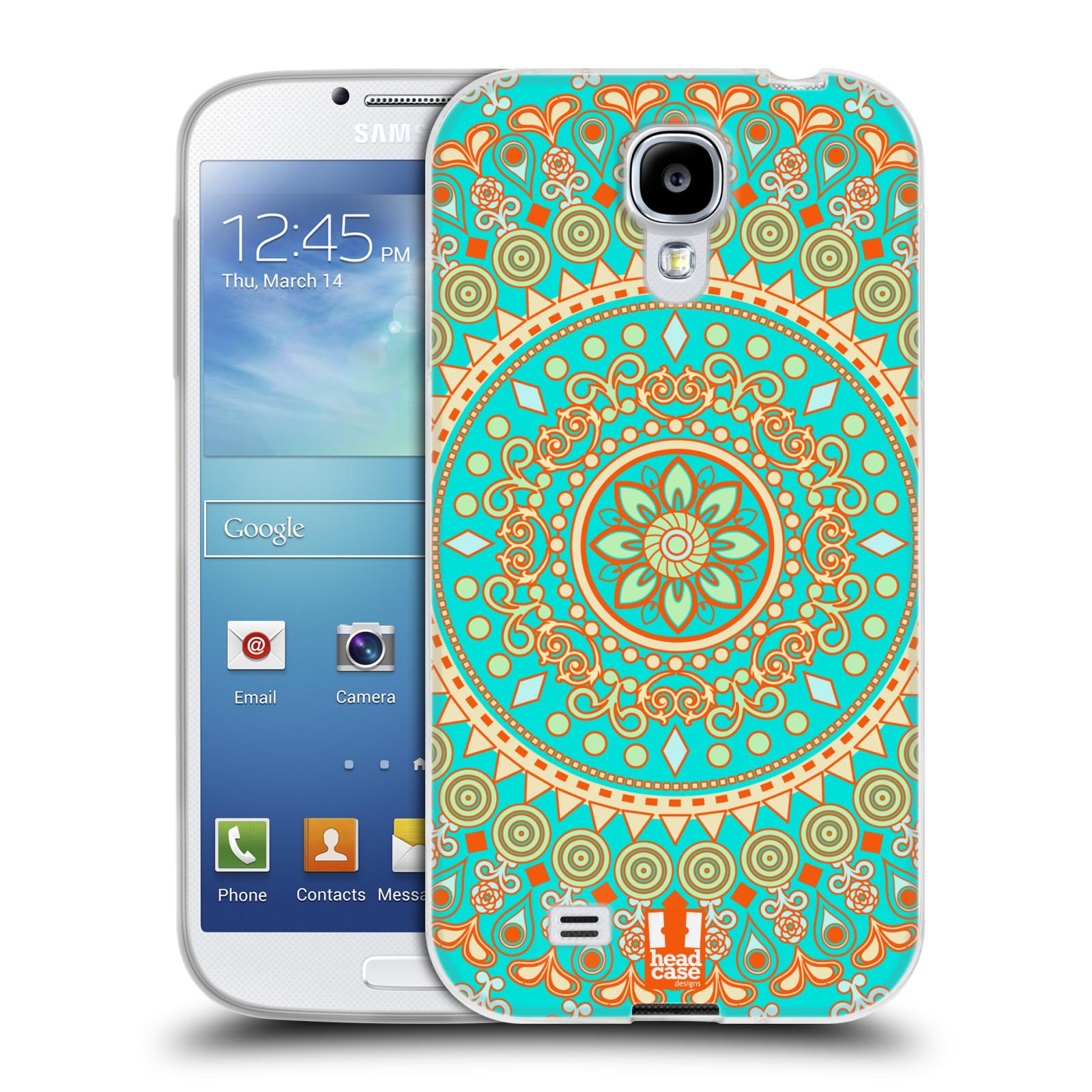 HEAD CASE silikonový obal na mobil Samsung Galaxy S4 i9500 vzor Indie Mandala slunce barevný motiv TYRKYSOVÁ, ZELENÁ