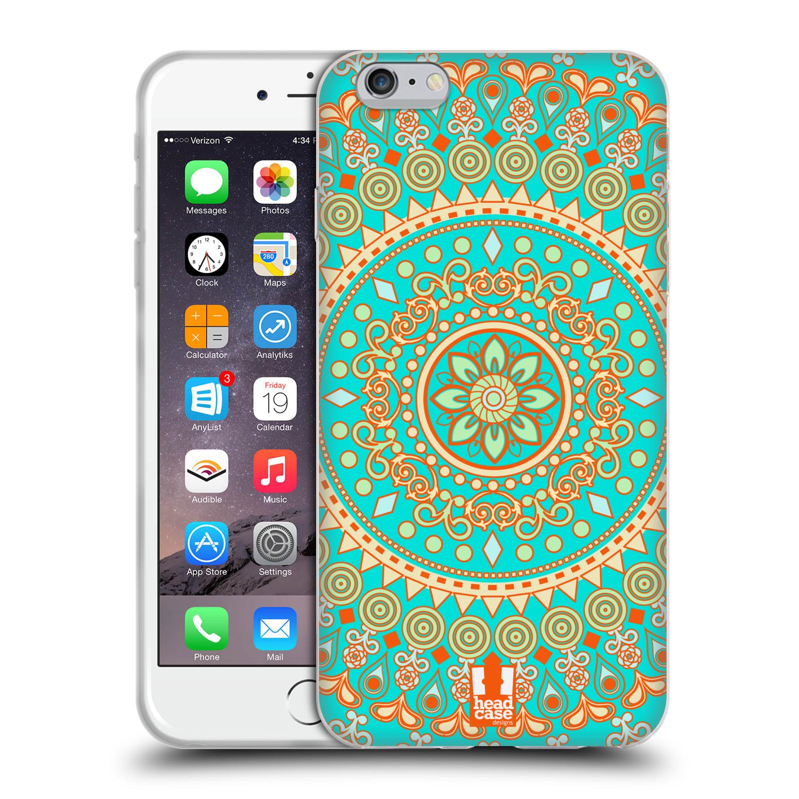 HEAD CASE silikonový obal na mobil Apple Iphone 6 PLUS/ 6S PLUS vzor Indie Mandala slunce barevný motiv TYRKYSOVÁ, ZELENÁ