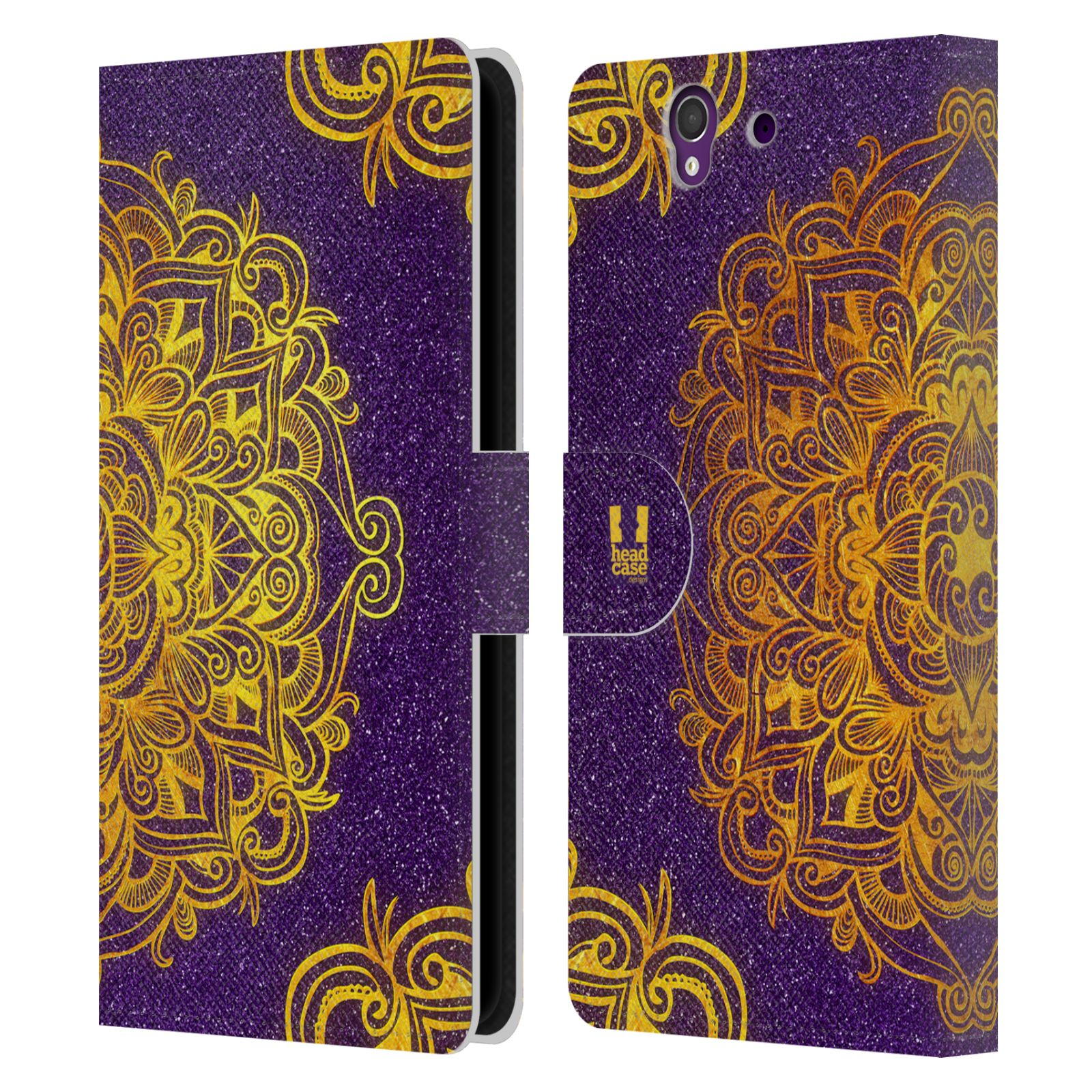 HEAD CASE Flipové pouzdro pro mobil SONY XPERIA Z (C6603) mandala kreslená fialová a zlatá