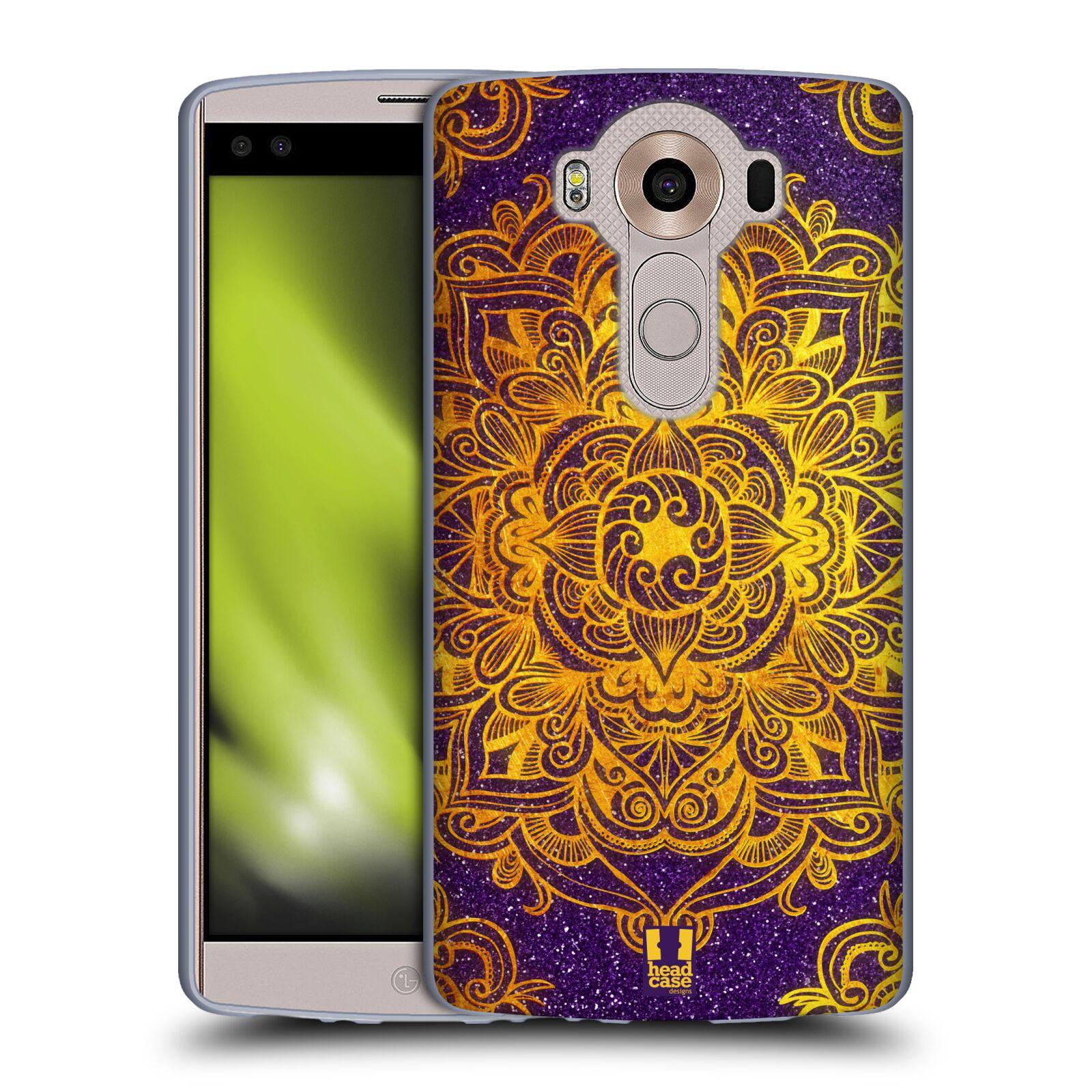 HEAD CASE silikonový obal na mobil LG V10 (H960A) vzor Indie Mandala slunce barevná ZLATÁ A FIALOVÁ