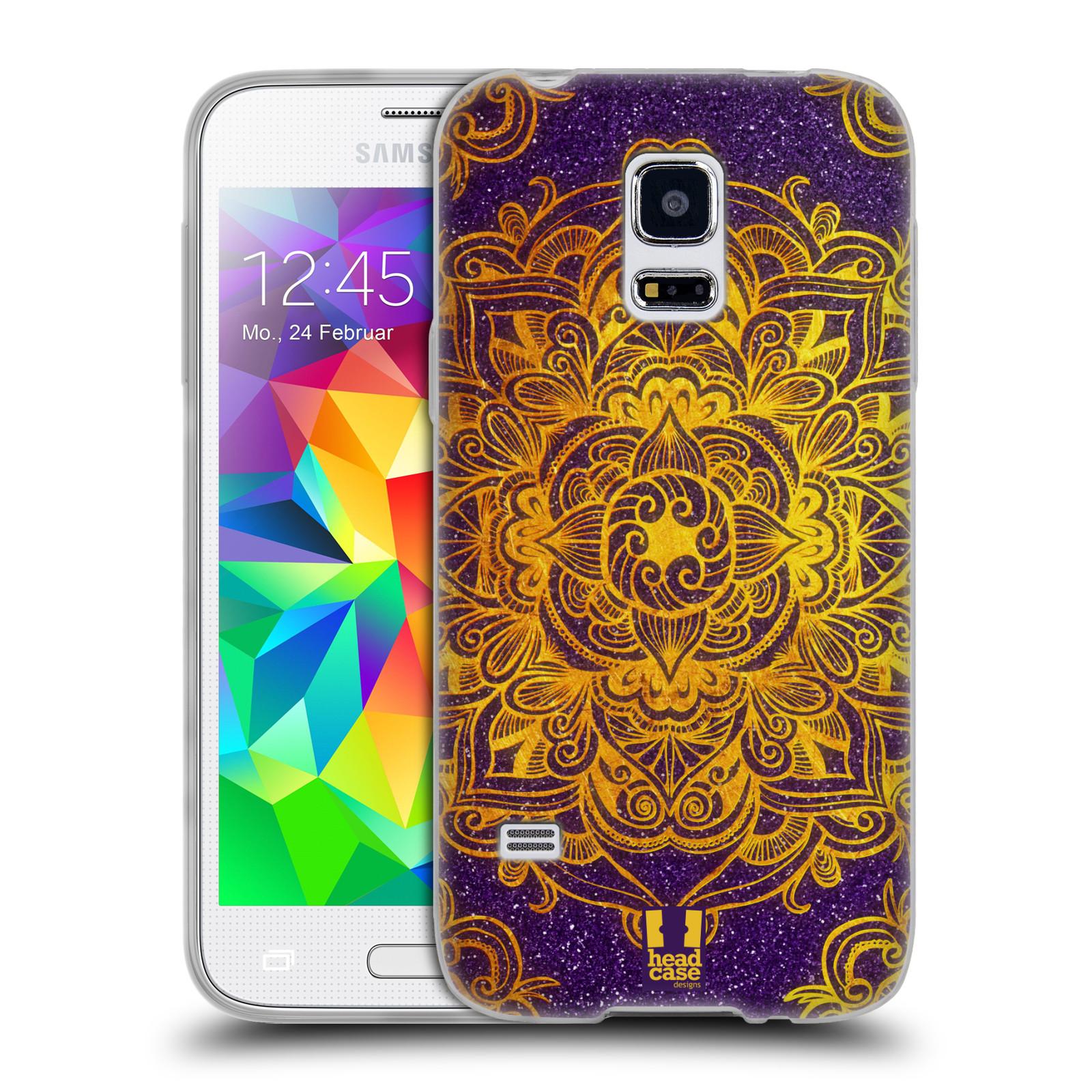 HEAD CASE silikonový obal na mobil Samsung Galaxy S5 MINI vzor Indie Mandala slunce barevná ZLATÁ A FIALOVÁ