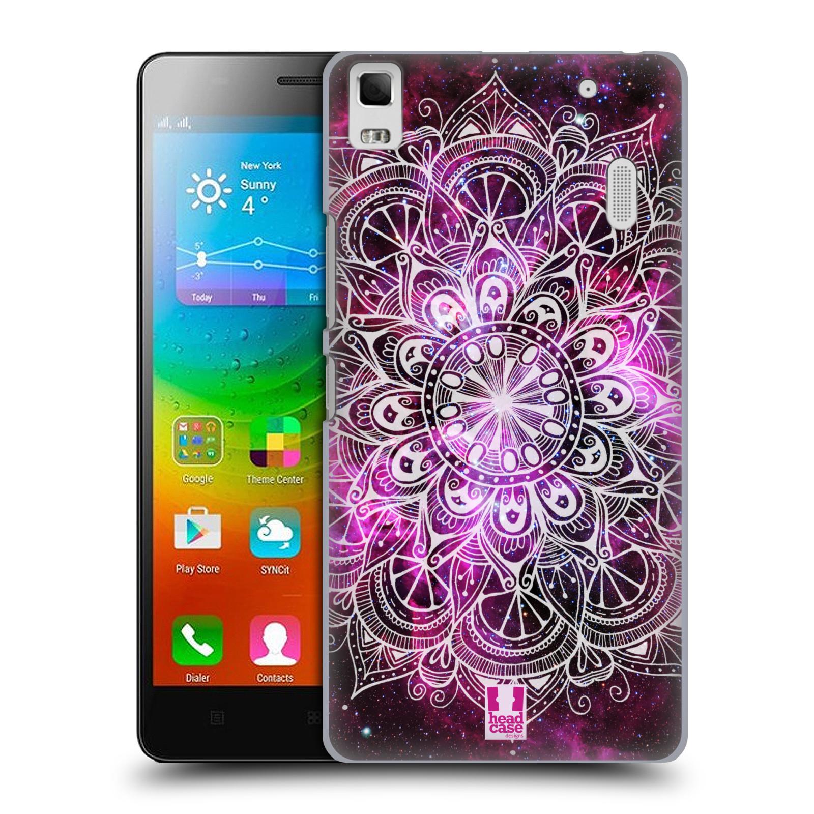 HEAD CASE pevný plastový obal na mobil LENOVO A7000 / A7000 DUAL / K3 NOTE vzor Indie Mandala slunce barevná FIALOVÁ MLHOVINA