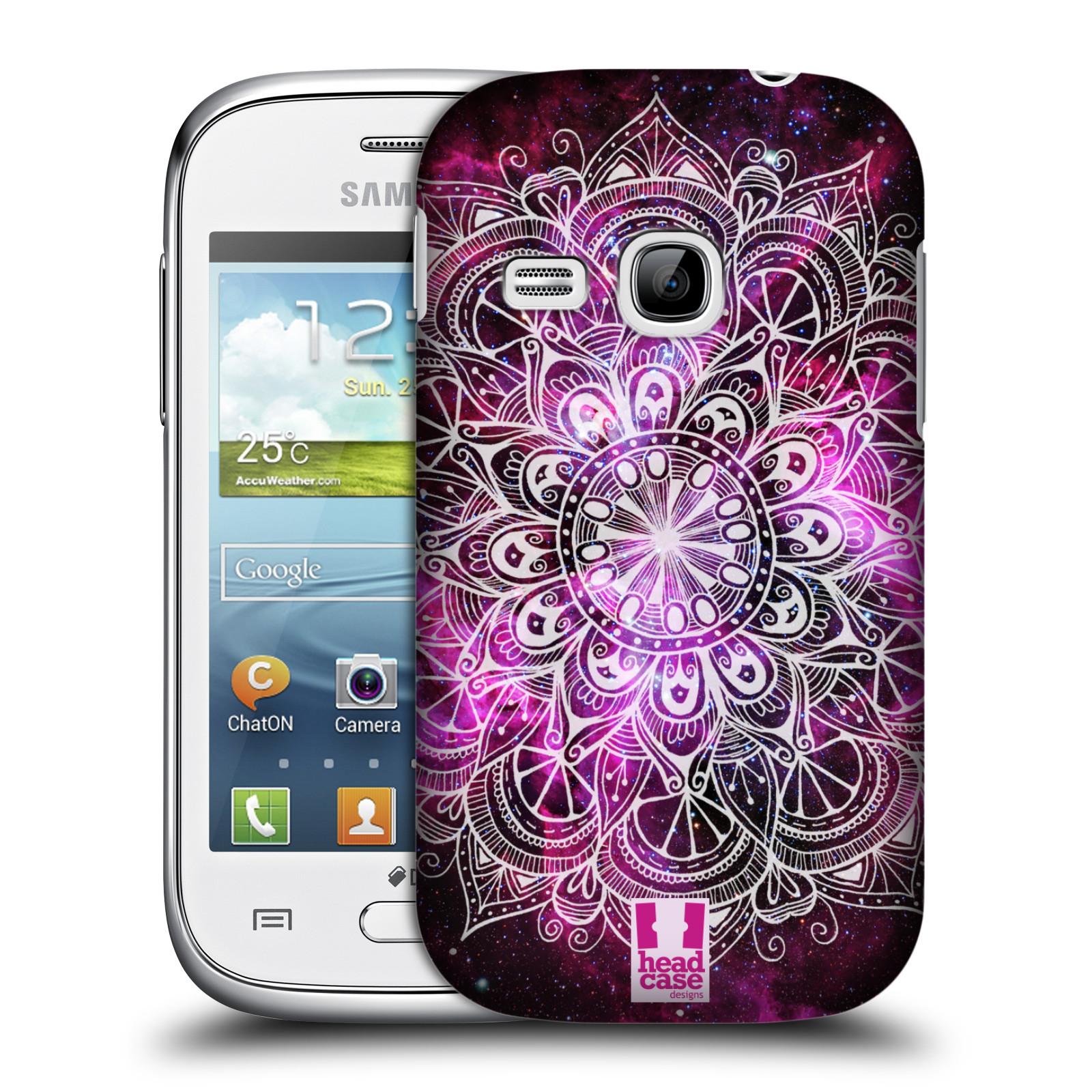 HEAD CASE plastový obal na mobil SAMSUNG Galaxy Young S6310 vzor Indie Mandala slunce barevná FIALOVÁ MLHOVINA