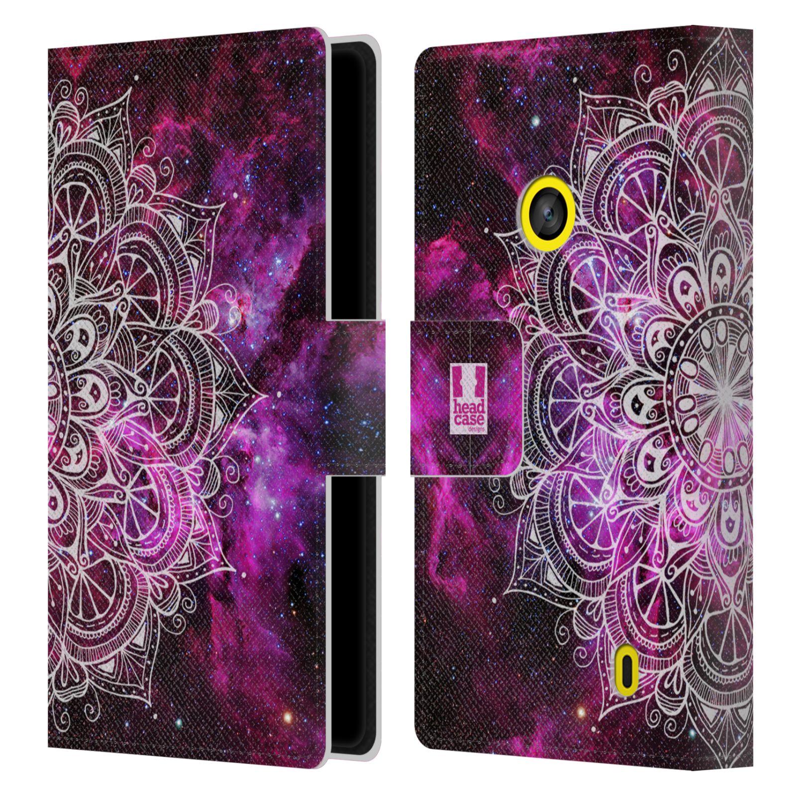 HEAD CASE Flipové pouzdro pro mobil NOKIA LUMIA 520 / 525 mandala kreslená fialová vesmír