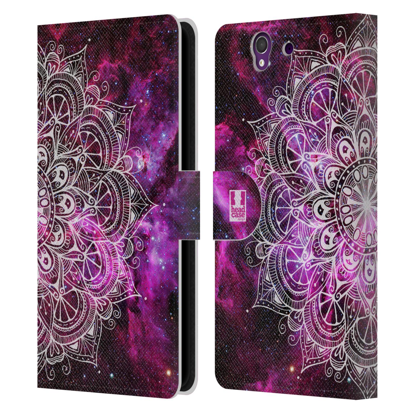 HEAD CASE Flipové pouzdro pro mobil SONY XPERIA Z (C6603) mandala kreslená fialová vesmír