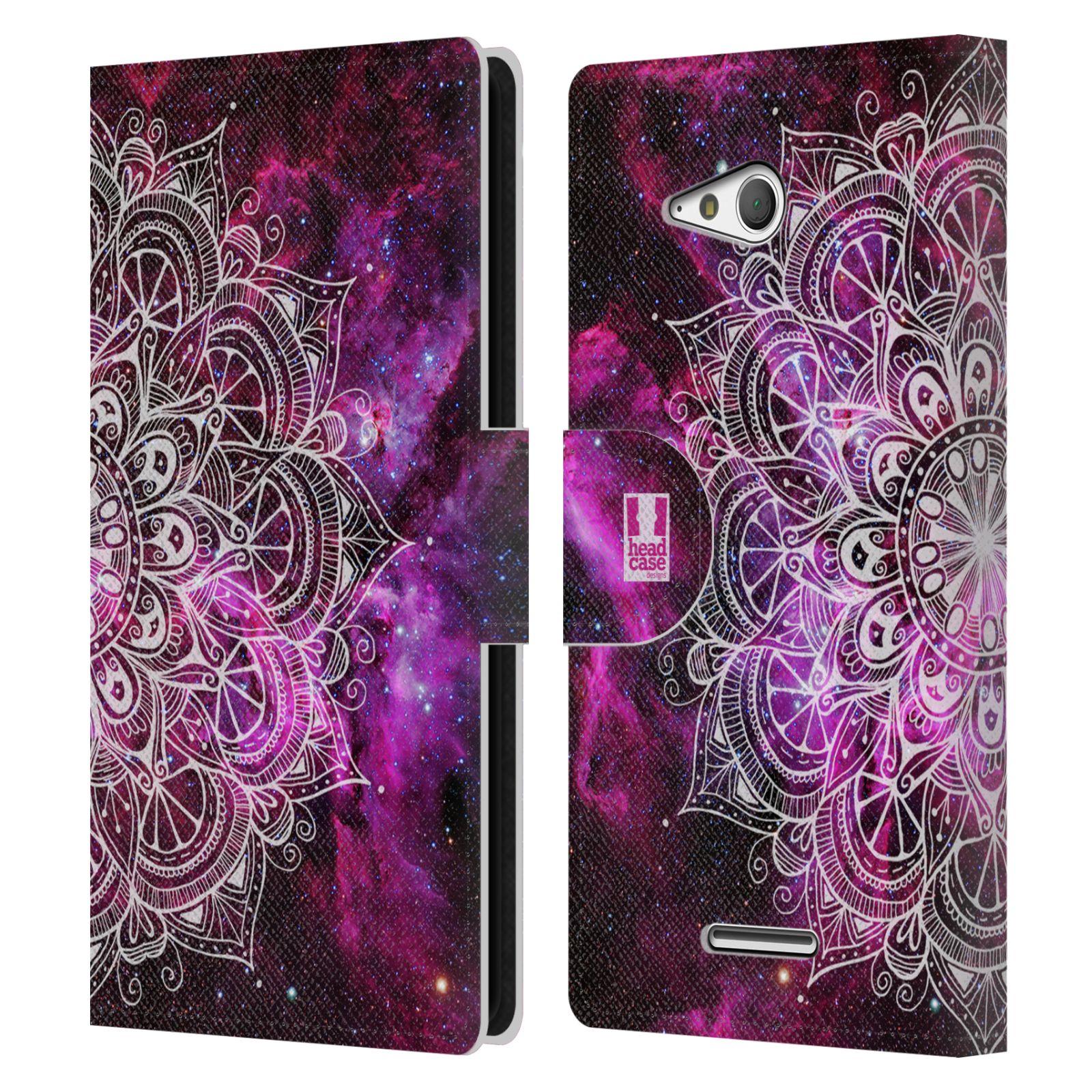 HEAD CASE Flipové pouzdro pro mobil SONY XPERIA E4g mandala kreslená fialová vesmír