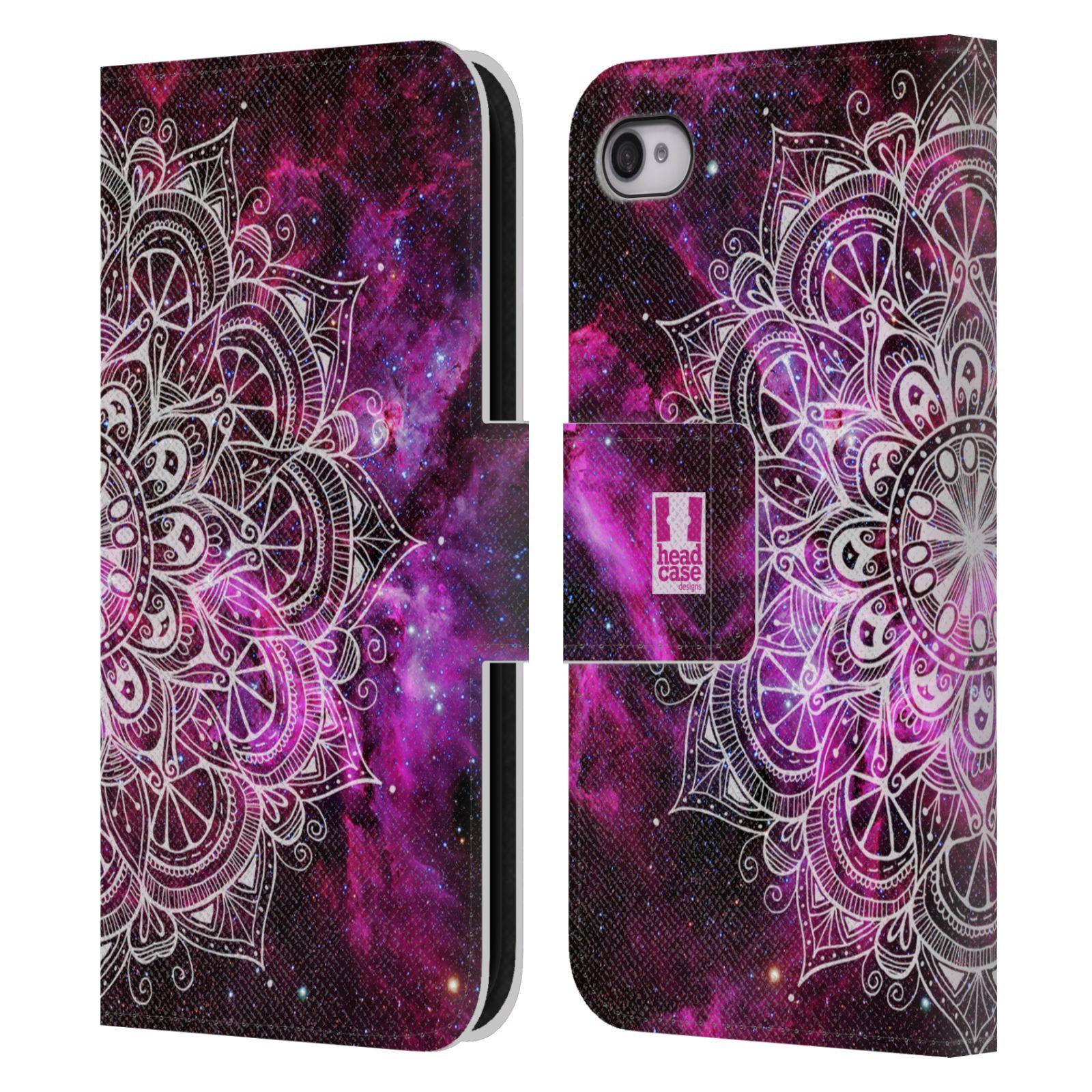 HEAD CASE Flipové pouzdro pro mobil Apple Iphone 4 4s mandala kreslená  fialová vesmír 4acdfd467be