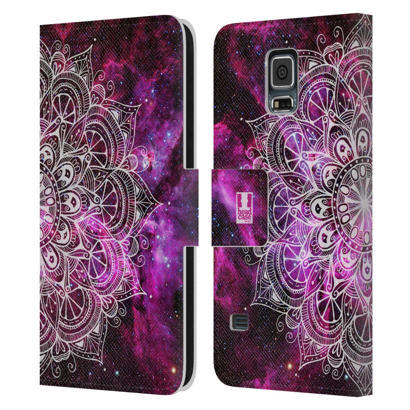 HEAD CASE Flipové pouzdro pro mobil Samsung Galaxy S5 / S5 NEO mandala kreslená fialová vesmír