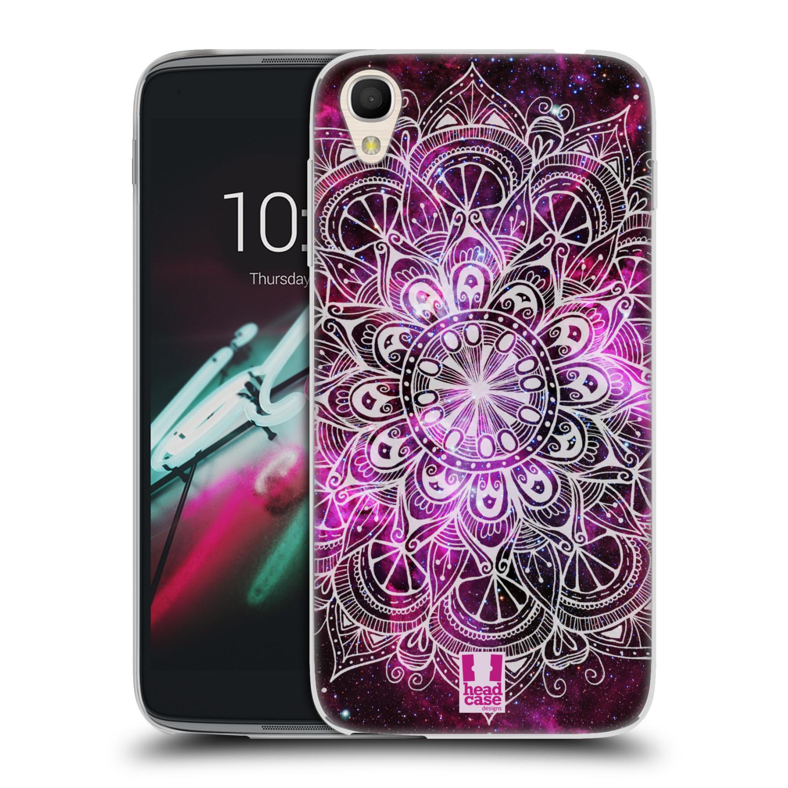 HEAD CASE silikonový obal na mobil Alcatel Idol 3 OT-6039Y (4.7) vzor Indie Mandala slunce barevná FIALOVÁ MLHOVINA