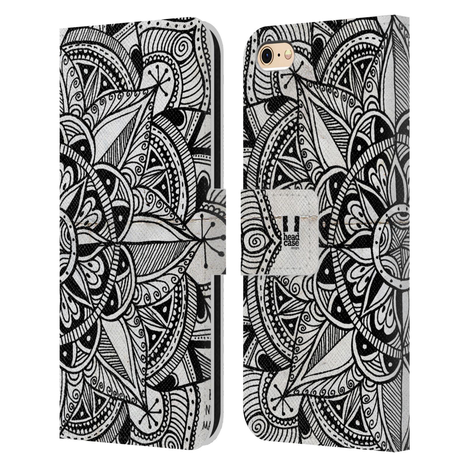 HEAD CASE Flipové pouzdro pro mobil Apple Iphone 6/6s mandala kreslená papír a kompas černobílá