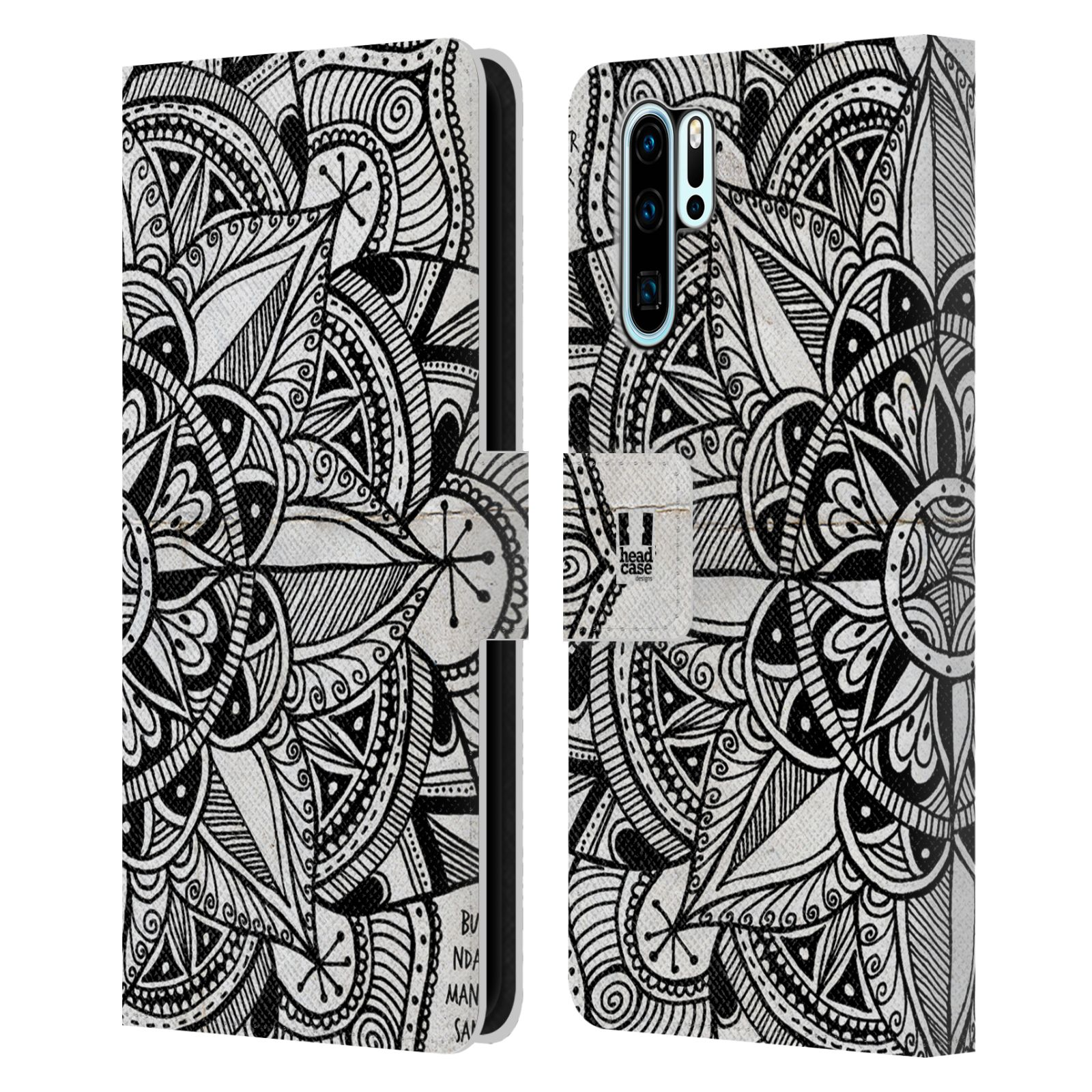 Pouzdro na mobil Huawei P30 PRO mandala kreslená papír a kompas černobílá
