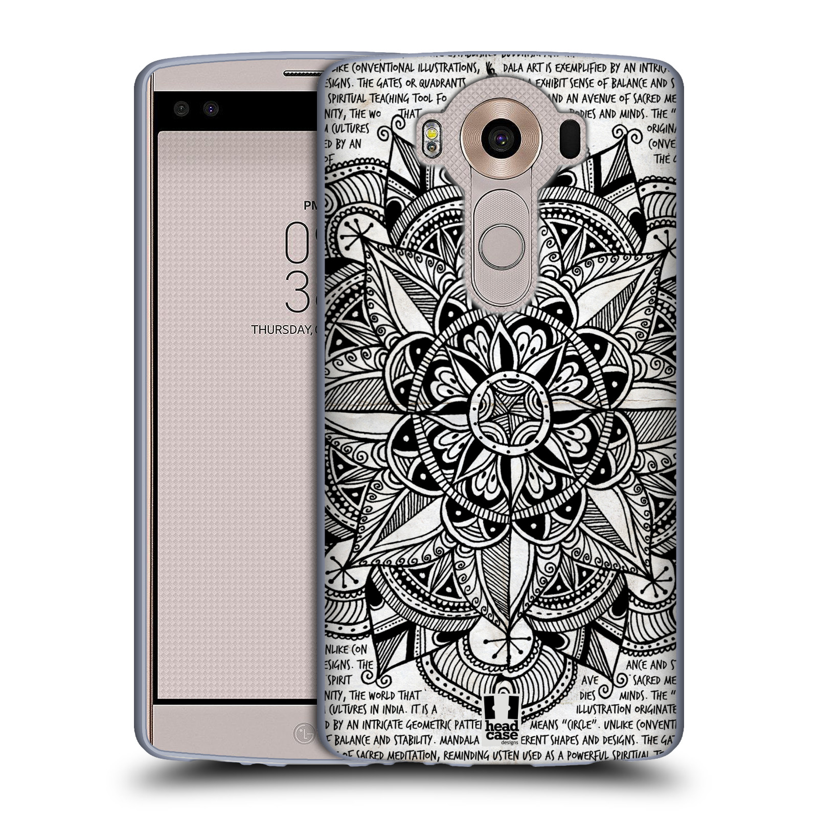 HEAD CASE silikonový obal na mobil LG V10 (H960A) vzor Indie Mandala slunce barevná ČERNÁ A BÍLÁ MAPA