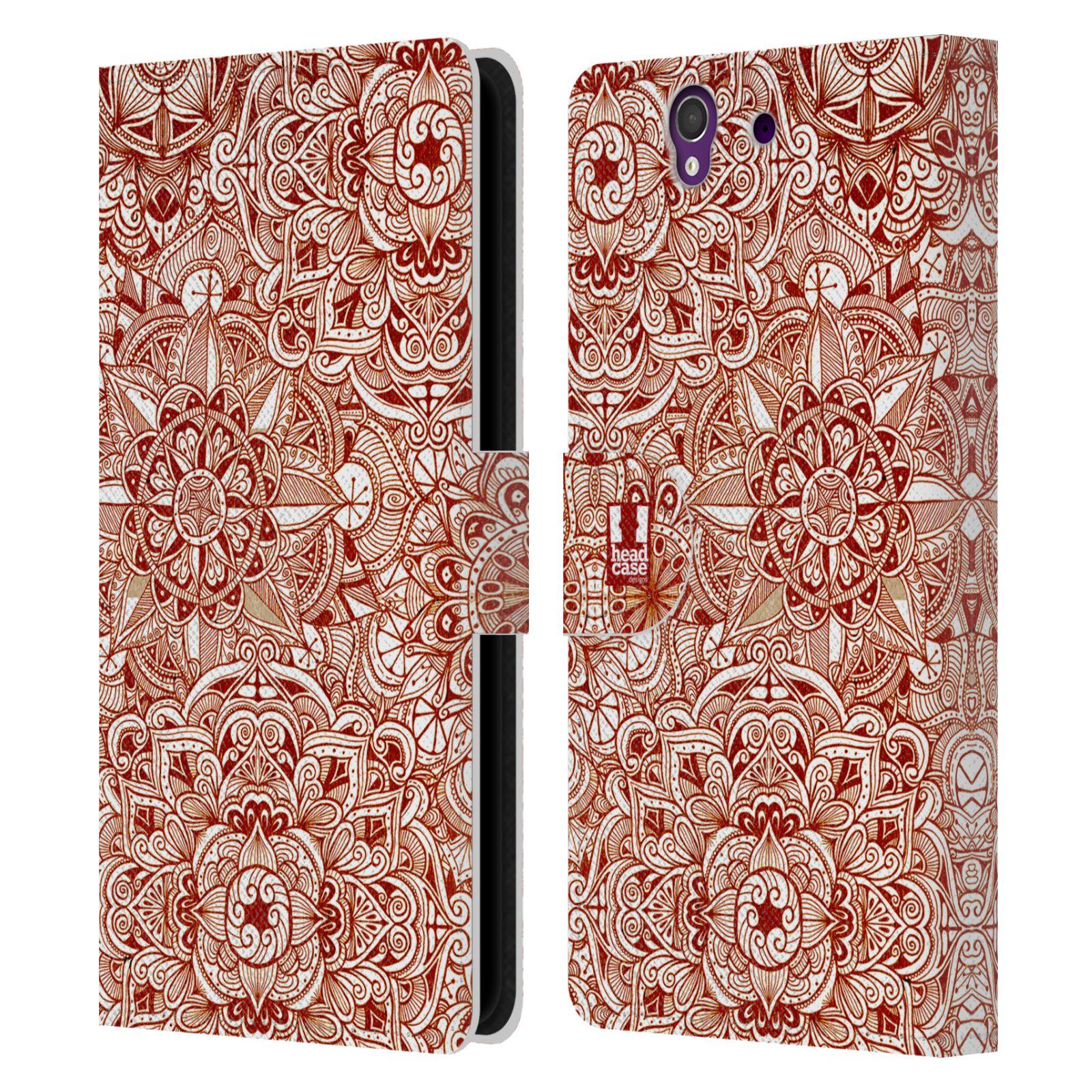 HEAD CASE Flipové pouzdro pro mobil SONY XPERIA Z (C6603) mandala kreslená červená