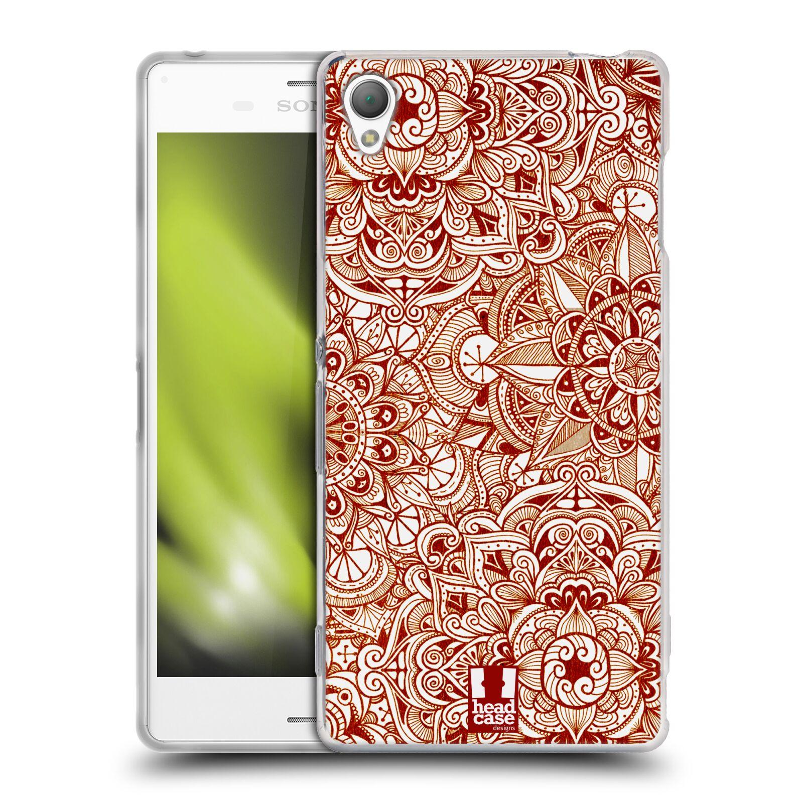HEAD CASE silikonový obal na mobil Sony Xperia Z3 vzor Indie Mandala slunce barevná ČERVENÁ RUDÁ MAPA