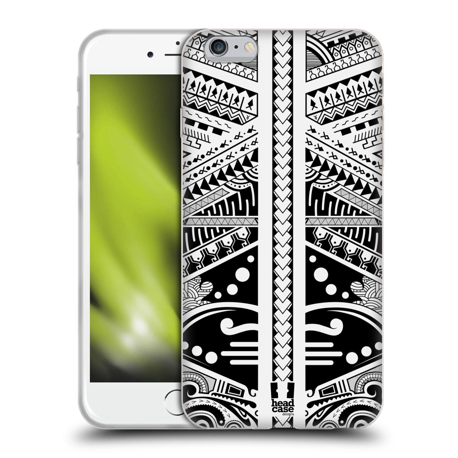 HEAD CASE silikonový obal na mobil Apple Iphone 6 PLUS/ 6S PLUS vzor Maorské tetování motivy černá a bílá POLYNÉZIE
